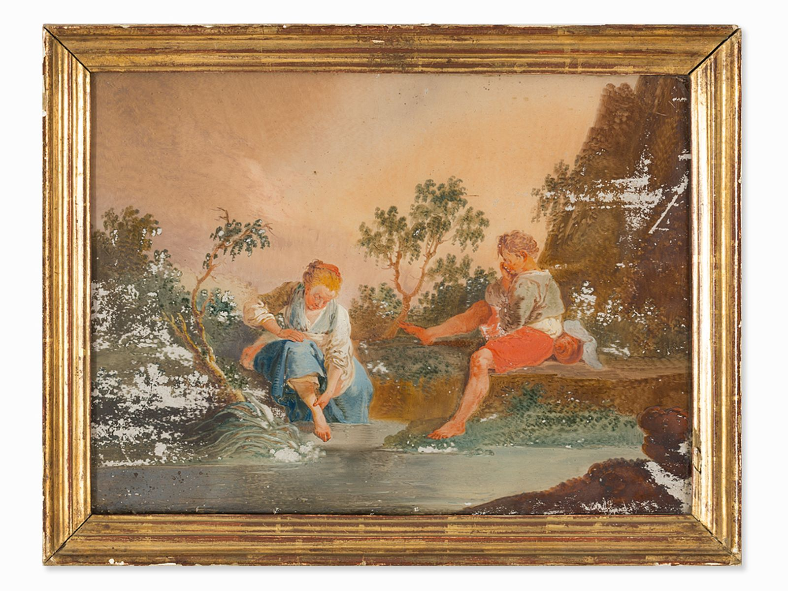 "#76 ""Children at the river"" reverse glass painting, French, 18th century 