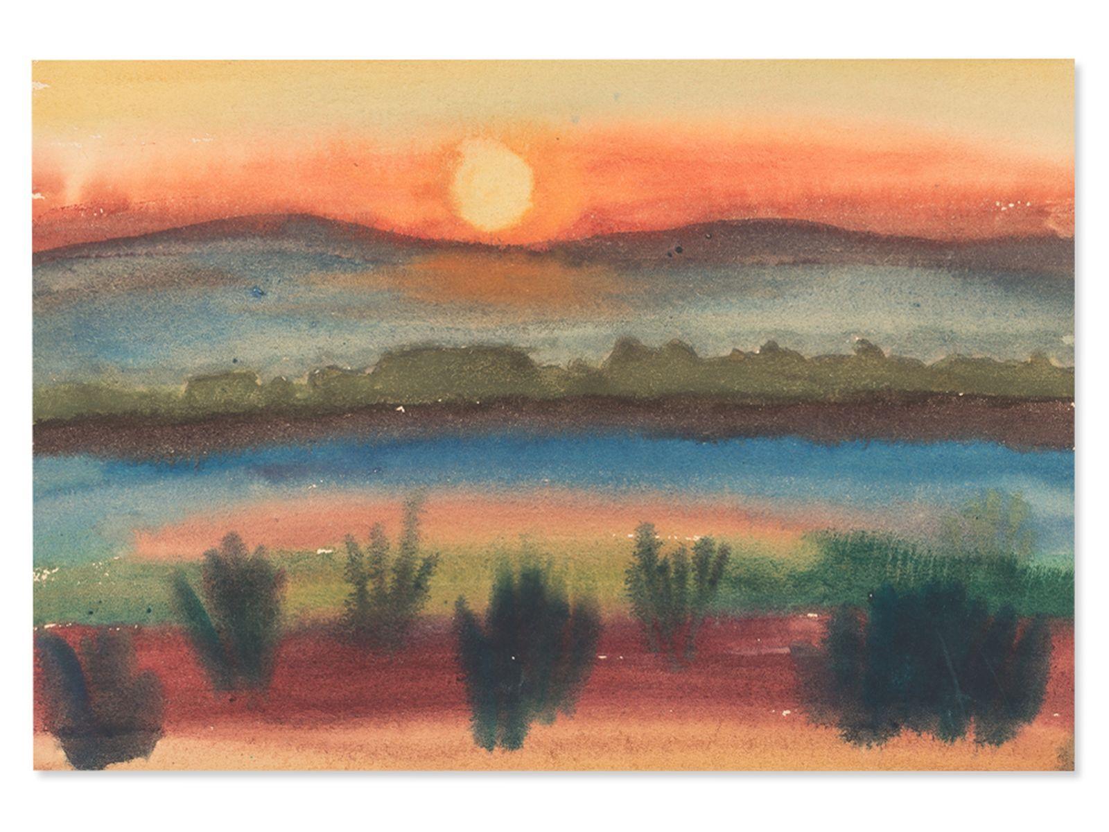 "#95 Rudolf Petrik, ""Sunset old Danube"" c. 1950 | Rudolf Petrik (1922-1991), ""Sonnenuntergang Alte Donau"" ca. 1950 Image"