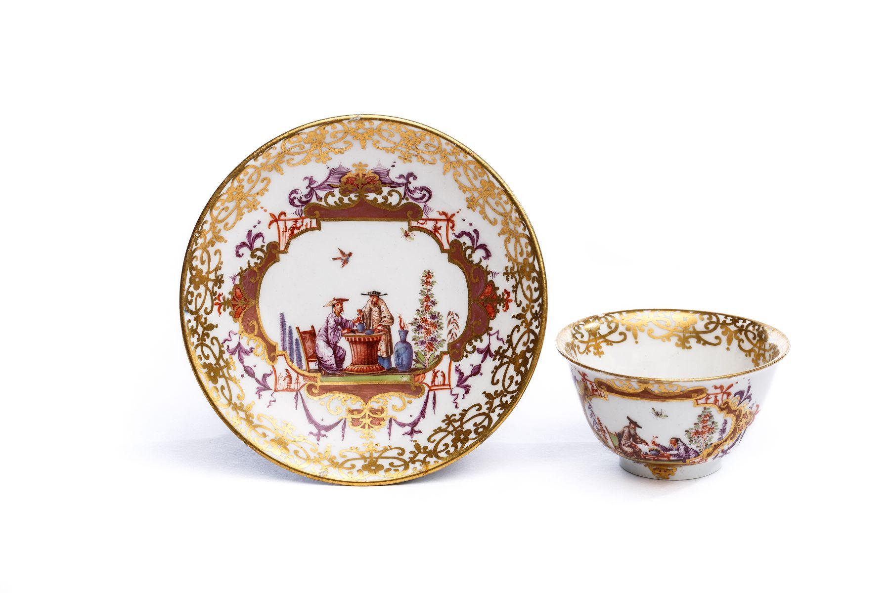#23 Bowl with Saucer, Meissen 1725   Koppchen mit Unterschale, Meissen 1725 Image