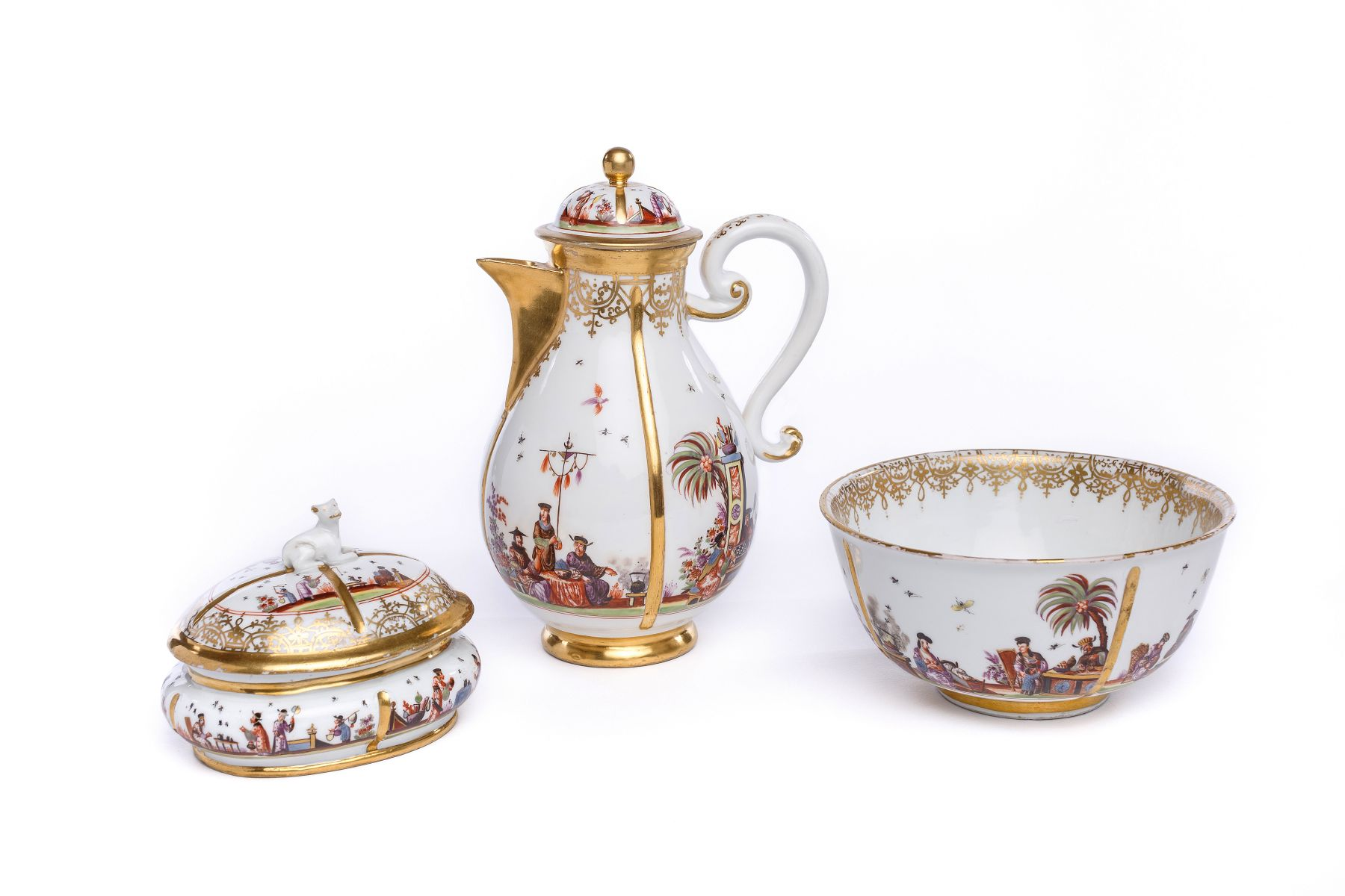 "#4 Coffee service with ""Chinoiserie"" scenes by Johann Gregorius Höroldt (1696-1775), Meissen 