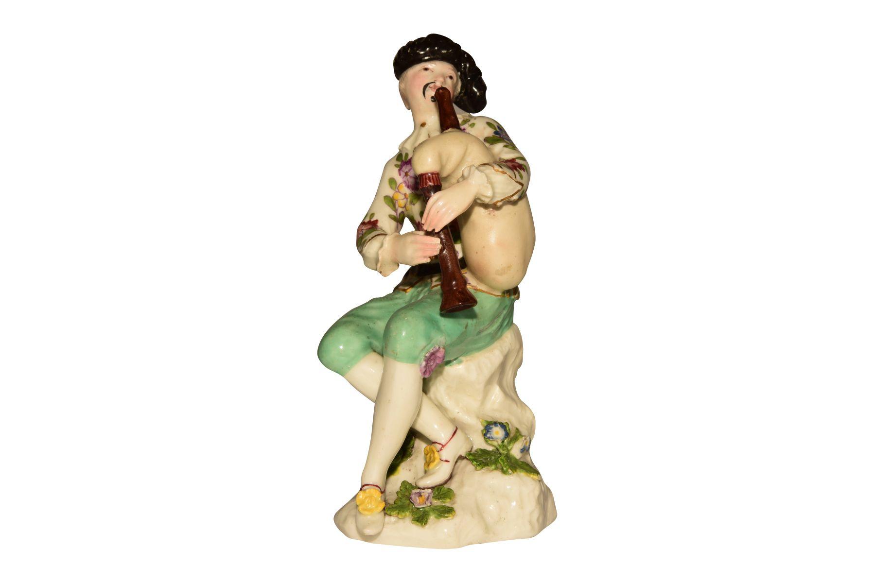 "#74 Harlequin with bagpipes Meissen 1745   ""Harlekin mit Dudelsack"" Meissen 1745 Image"