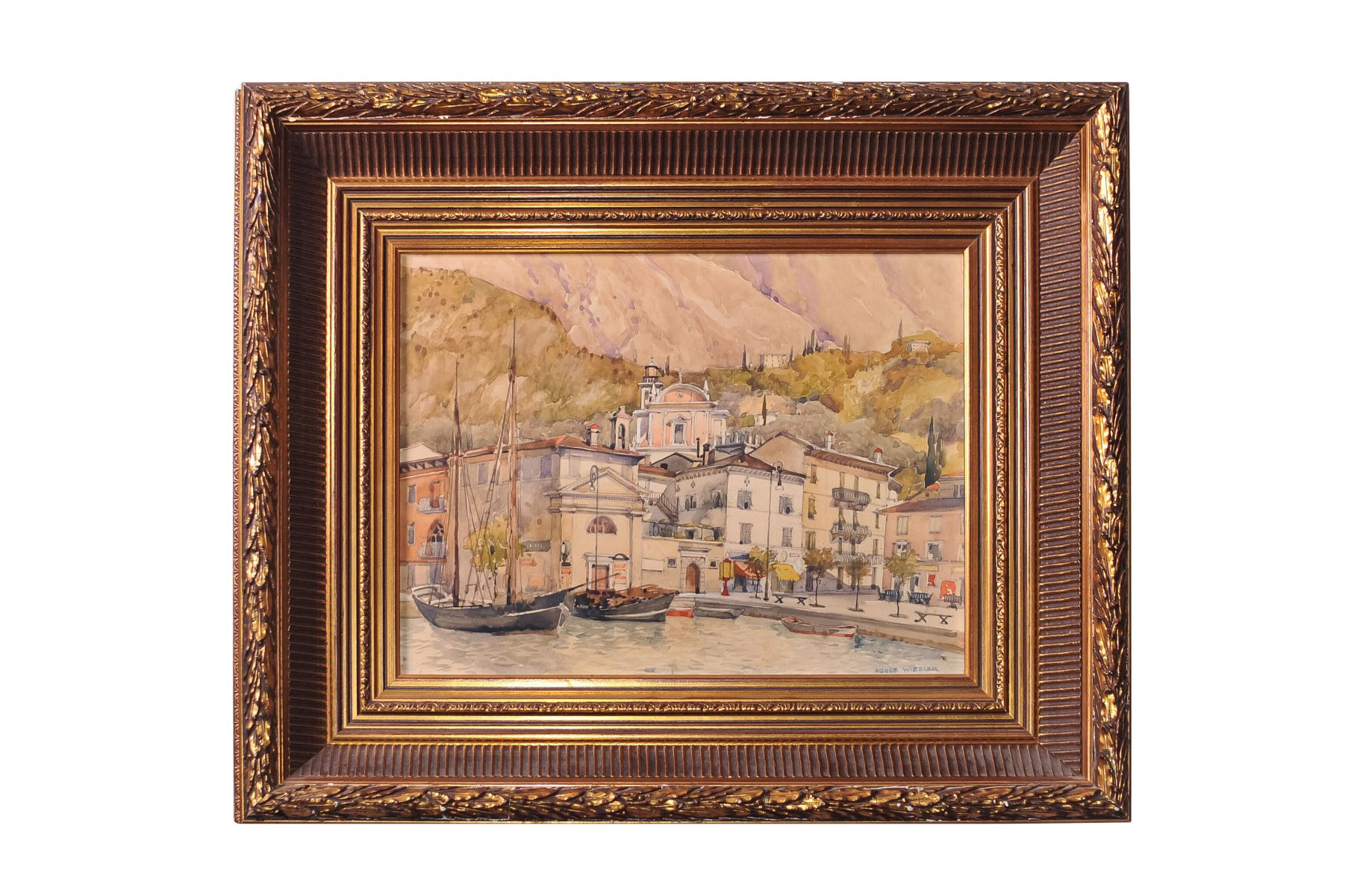 "#101 Adolf Wiesler (1878-1958) ""View of Malcesine on Lake Garda"" 