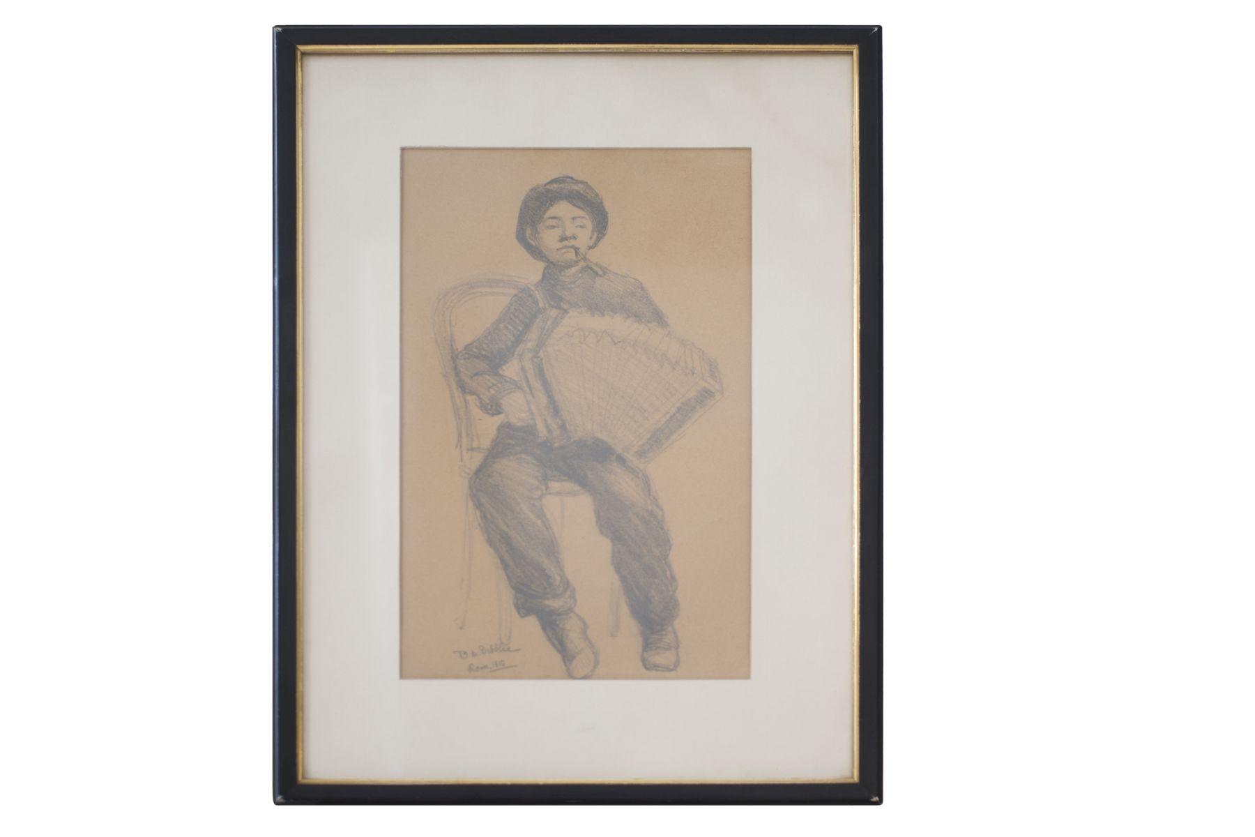"#29 B.M. Dibbleo Rome 1910 ""Harmonica player"" | B.M. Dibbleo Rom 1910 ""Harmonikaspieler"" Image"