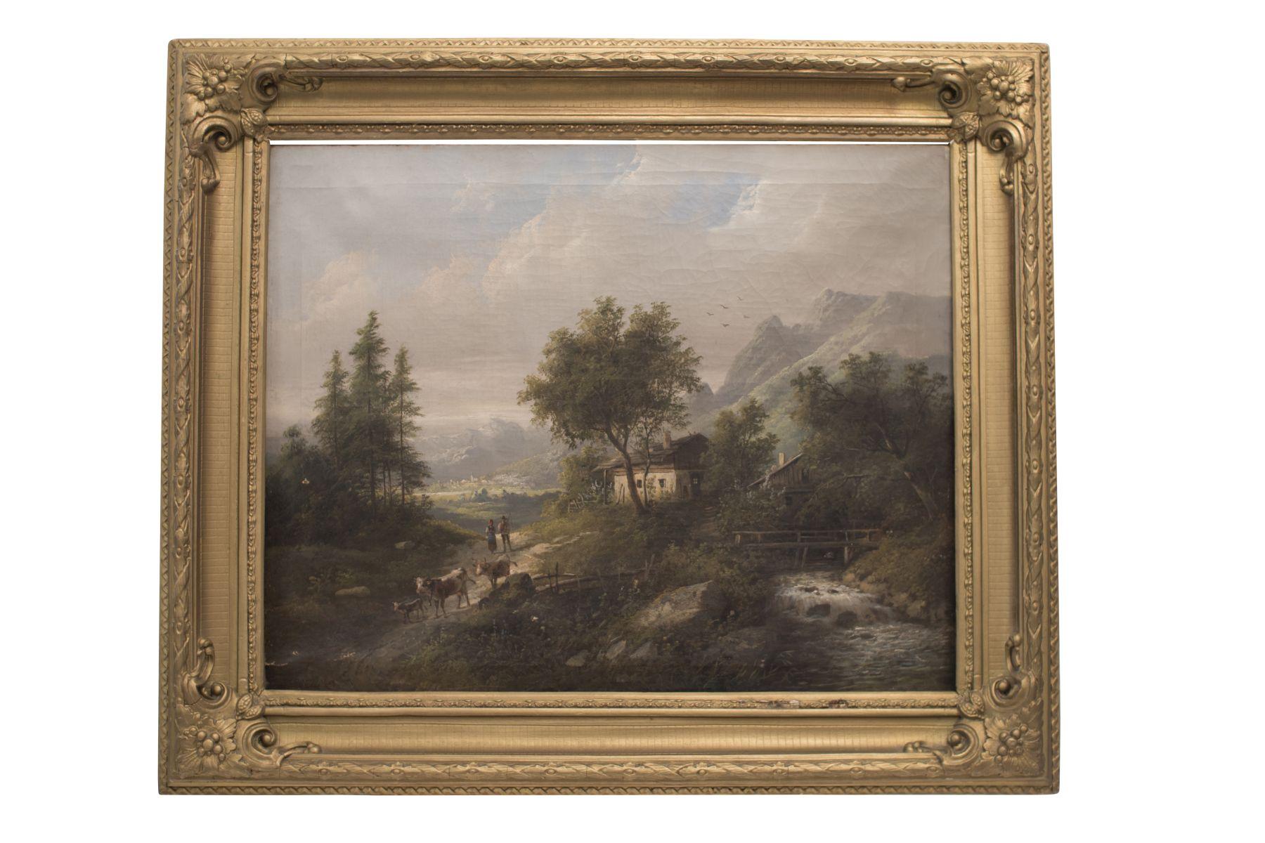 "#90 Farm on the river with cows in Tyrol | Eduard Böhm (1830-1890) ""Bauernhof am Fluss mit Kühen in Tirol"" Image"