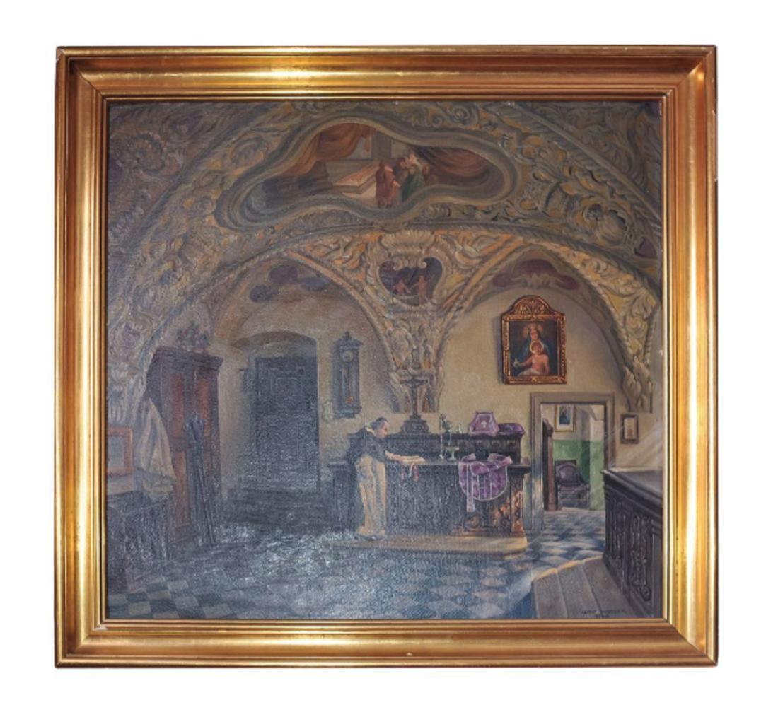 "#91 Sacristy of the Dominican Church Graz | Adolf Wiesler(1878-1958) ""Sakristei der Dominikaner Kirche Graz"" Image"