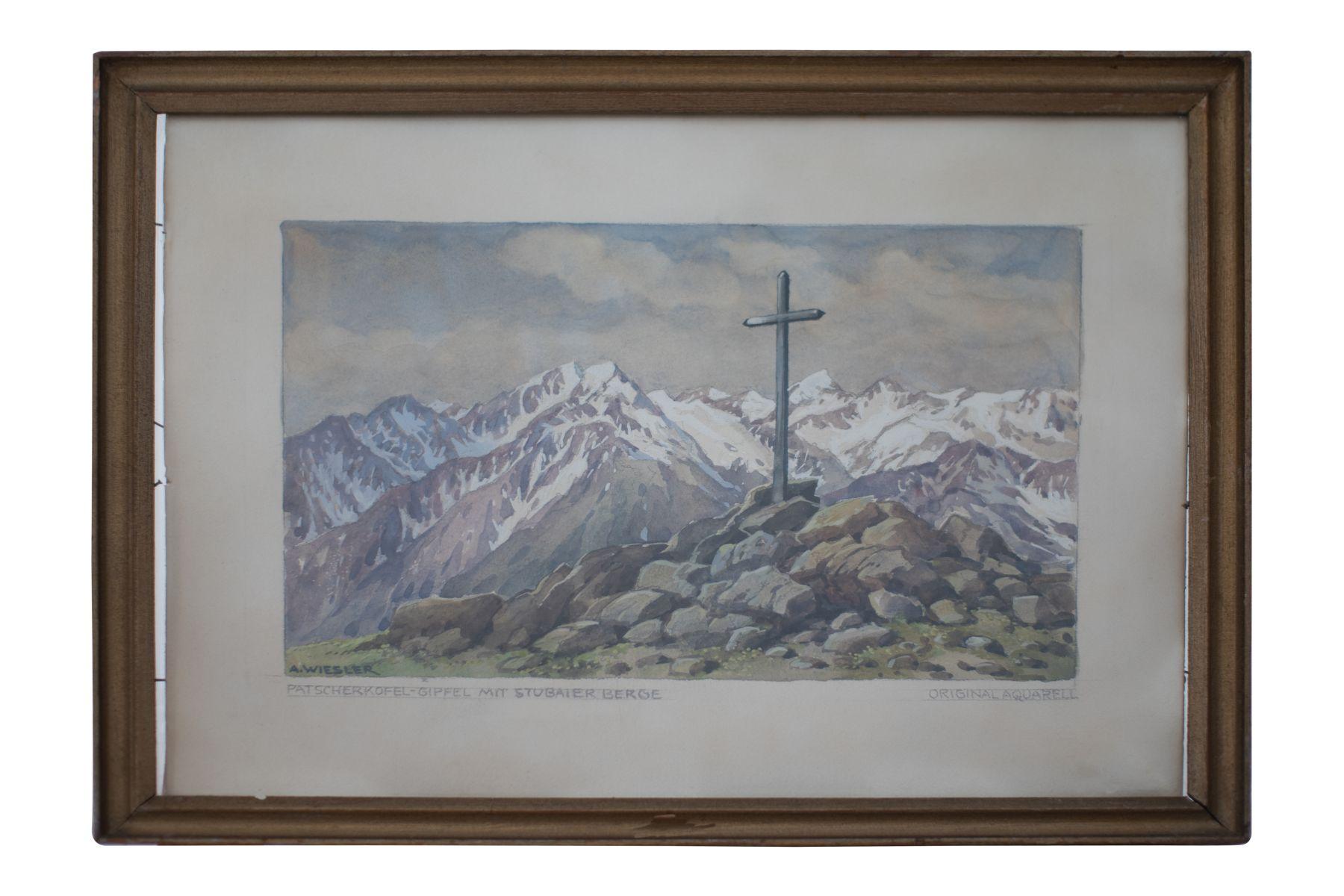 "#96 Patschakofel peak with view of Stubai mountains | Adolf Wiesler (1978-1958) ""Patschakofel Gipfel mit Blick auf Stubaier Berge"" Image"