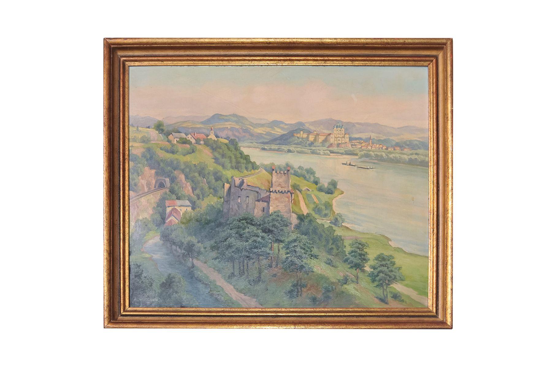 "#98 Adolf Wiesler (1878-1958) ""View Ruin Welteneg to Melk Donau"" | Adolf Wiesler (1878-1958) ""Blick Ruine Welteneg nach Melk Donau"" Image"