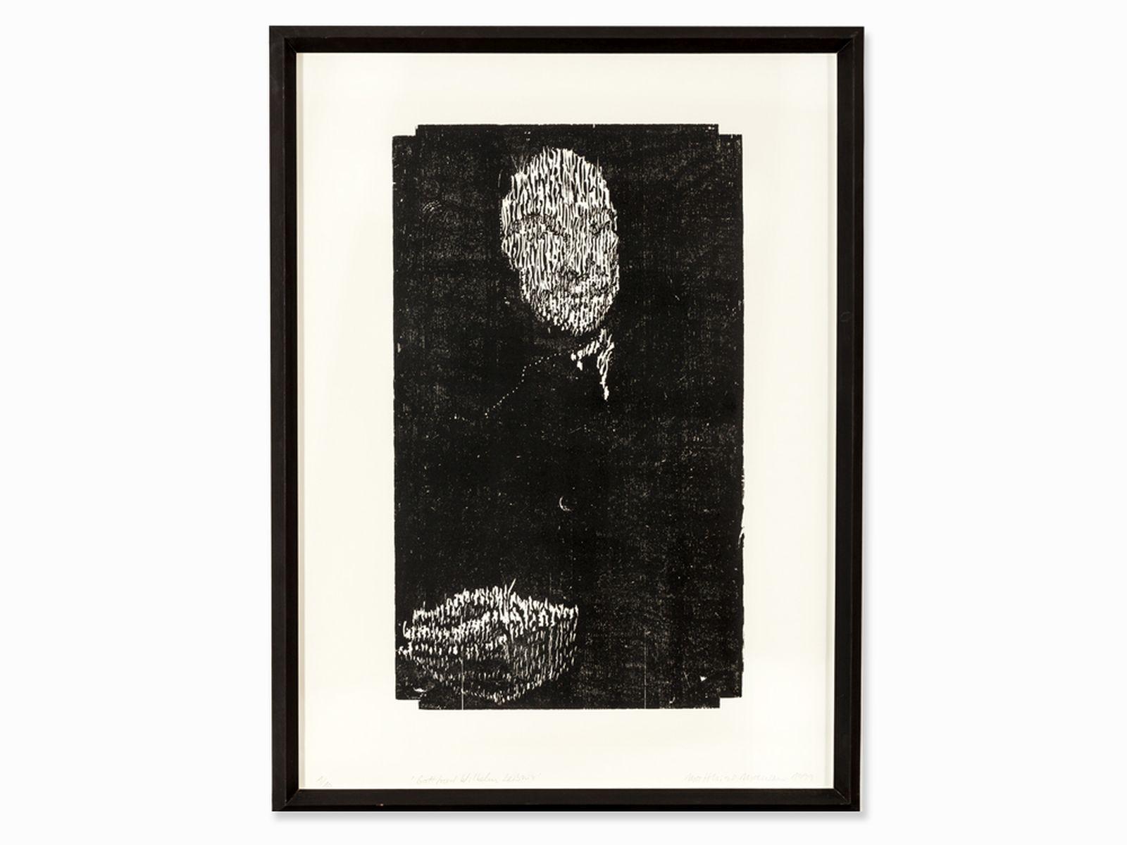 "#125 Matthias Mansen (b. 1958), G.W. Leibniz, Woodcut, 1999   Matthias Mansen (1958) ""G.W. Leibniz"" 1999 Image"