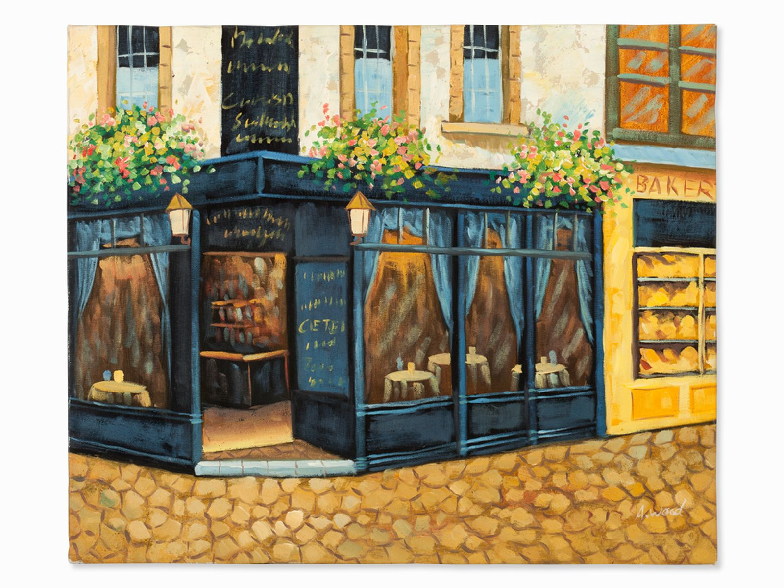 "#136 A. Wood ""Sidewalk Cafe, England, c. 2000"" | A. Wood "" Straßencafé"" 2000 Image"