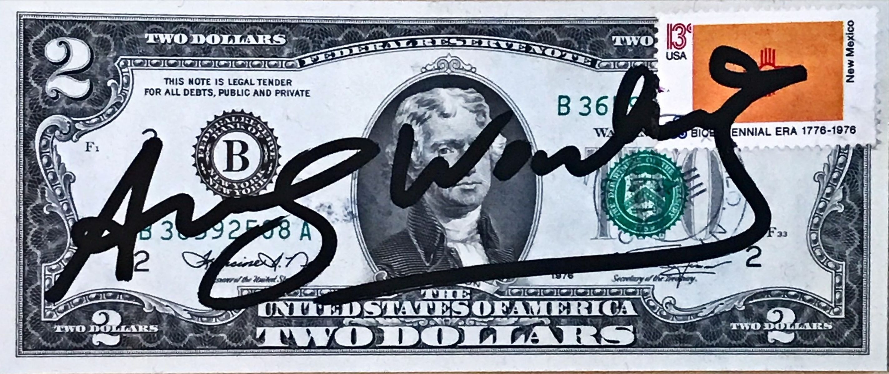 "#150 Andy Warhol ""2 Dollar Bill"" 