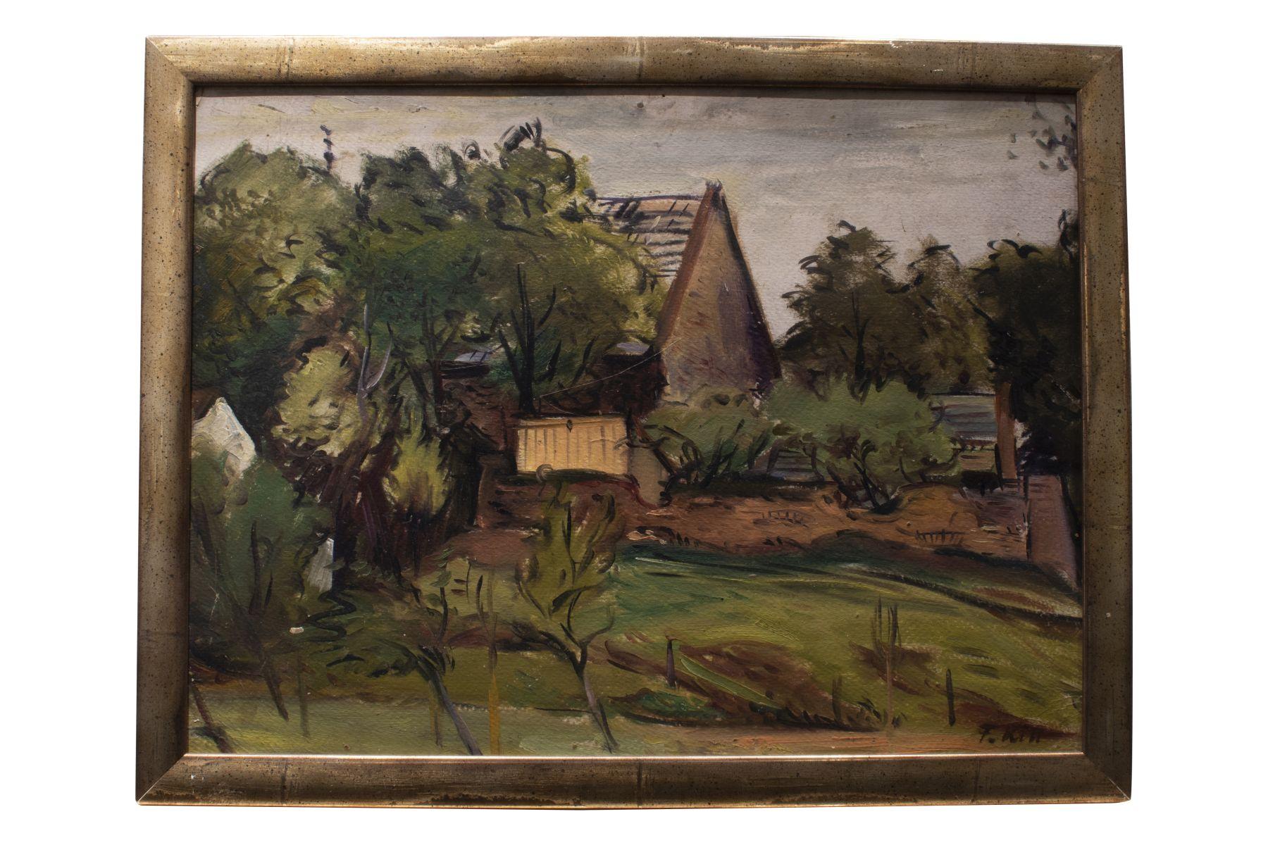 "#152 Ferdinand Kitt (1887-1961)"" Garden landscape with house"" | Ferdinand Kitt (1887-1961) ""Gartenlandschaft mit Haus"" Image"
