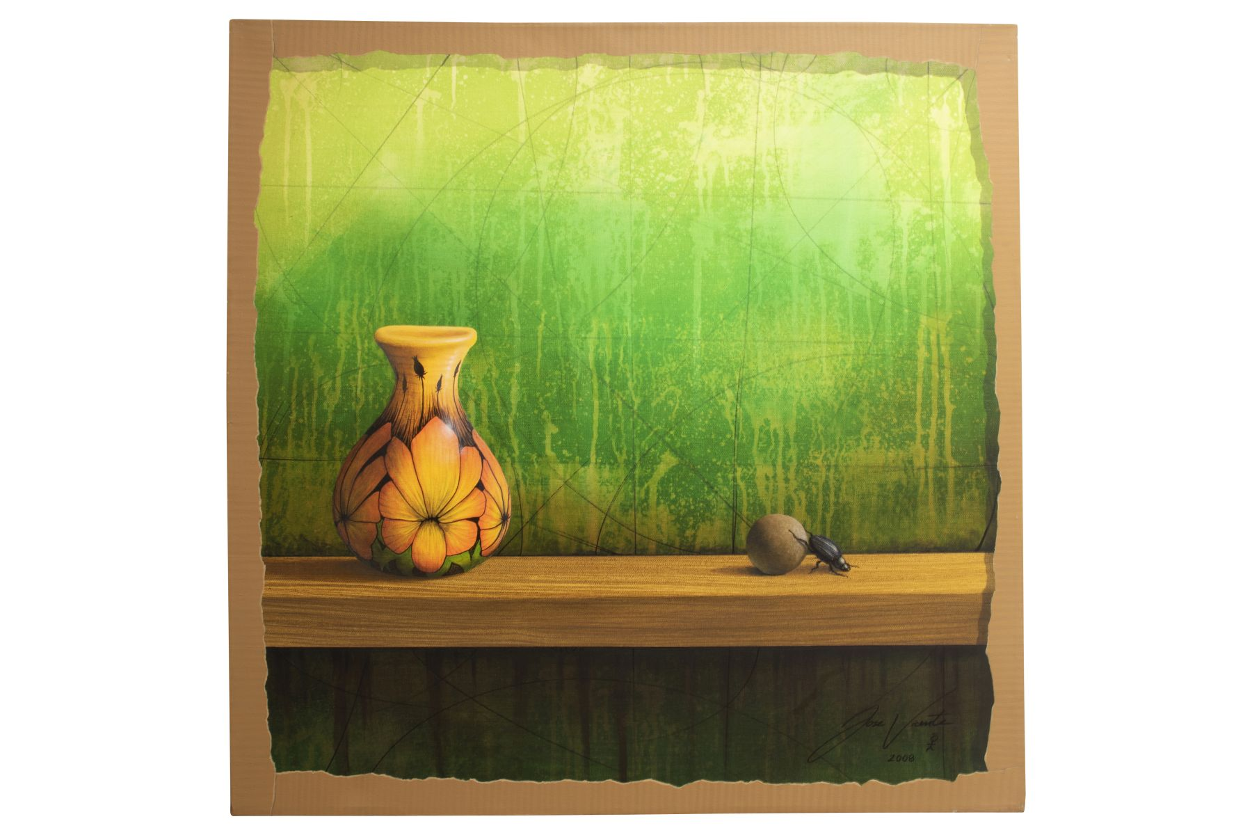 "#32 Jose Vicente (1977) "" Vase against green background 
