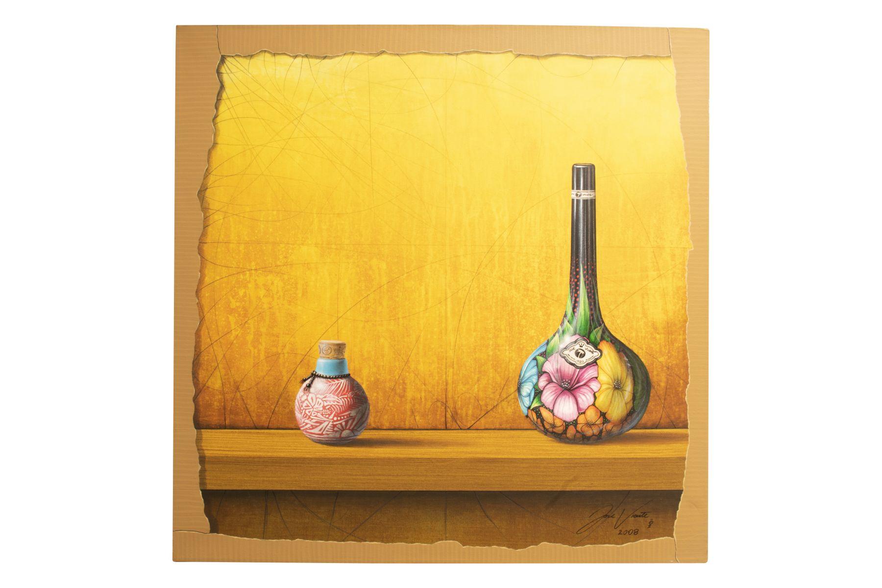"""#33 Jose Vicente (1977) """"Painted wine bottle and small jar against colored background""""   Jose Vicente (1977)""""Bemalte Weinflasche und kleines Gefäß vor farbigem Hintergrund"""" Image"""