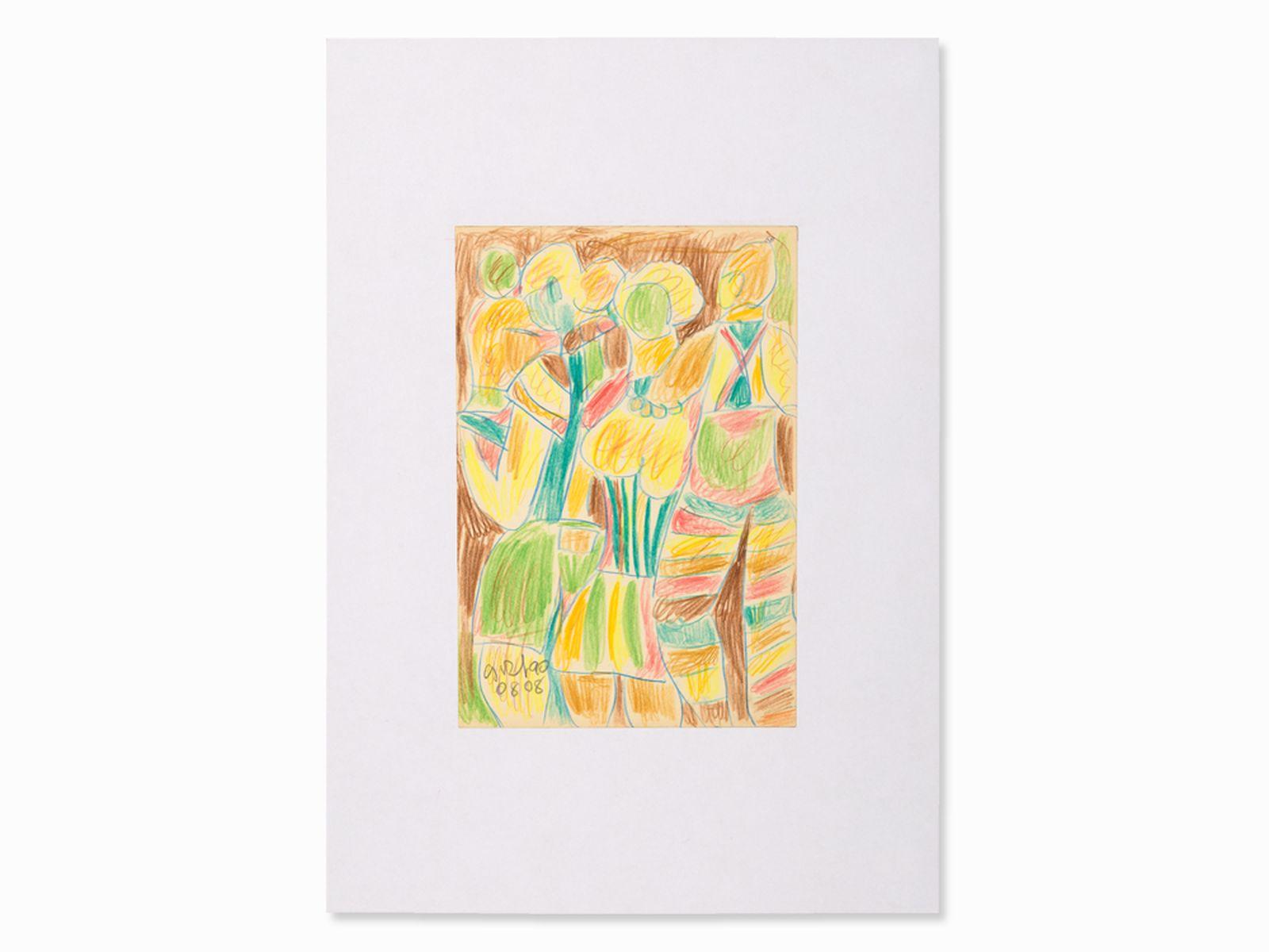 "#37 Miklos Németh, Drawing, Colorful Figures, Hungary, 2008 | Miklos Németh (1934-2012) ""Bunte Figuren"" Ungarn, 2008 Image"