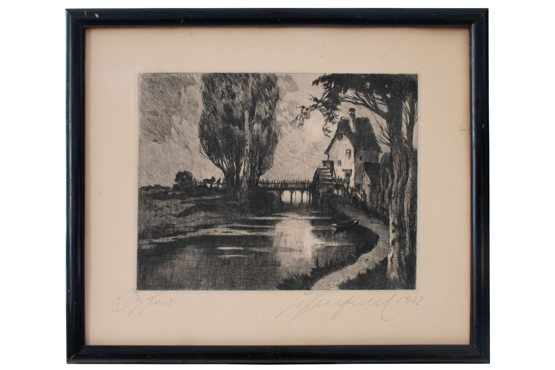 "#77 Hugo Henschl (1879-1929) ""Mill By The River"" 