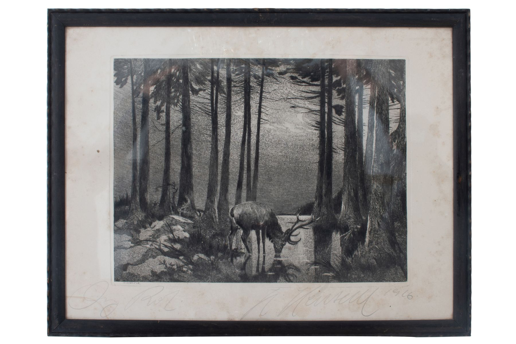 "#79 Hugo Henschl (1879-1929) ""Deer in the moonlight at the lake"" 