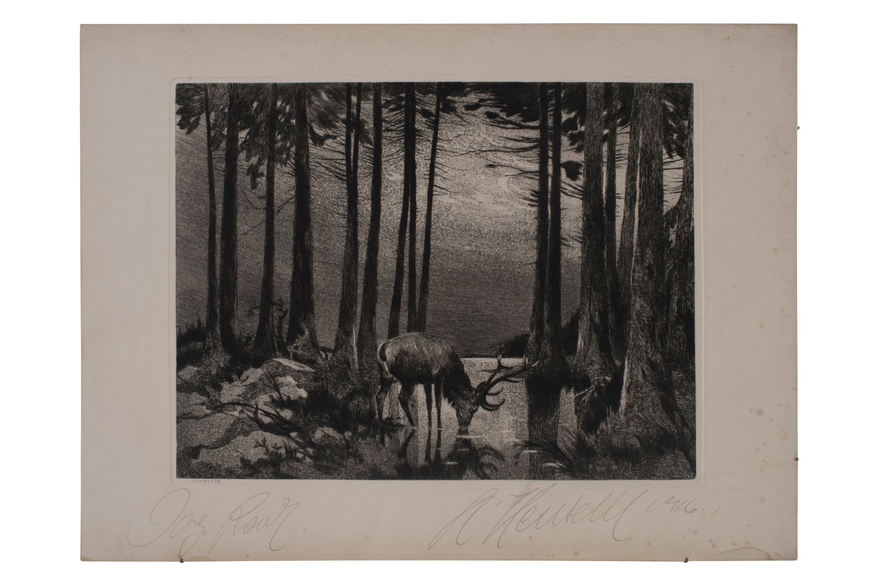 "#80 Hugo Henschl (1879-1929) ""Deer in the moonlight at the lake"" 