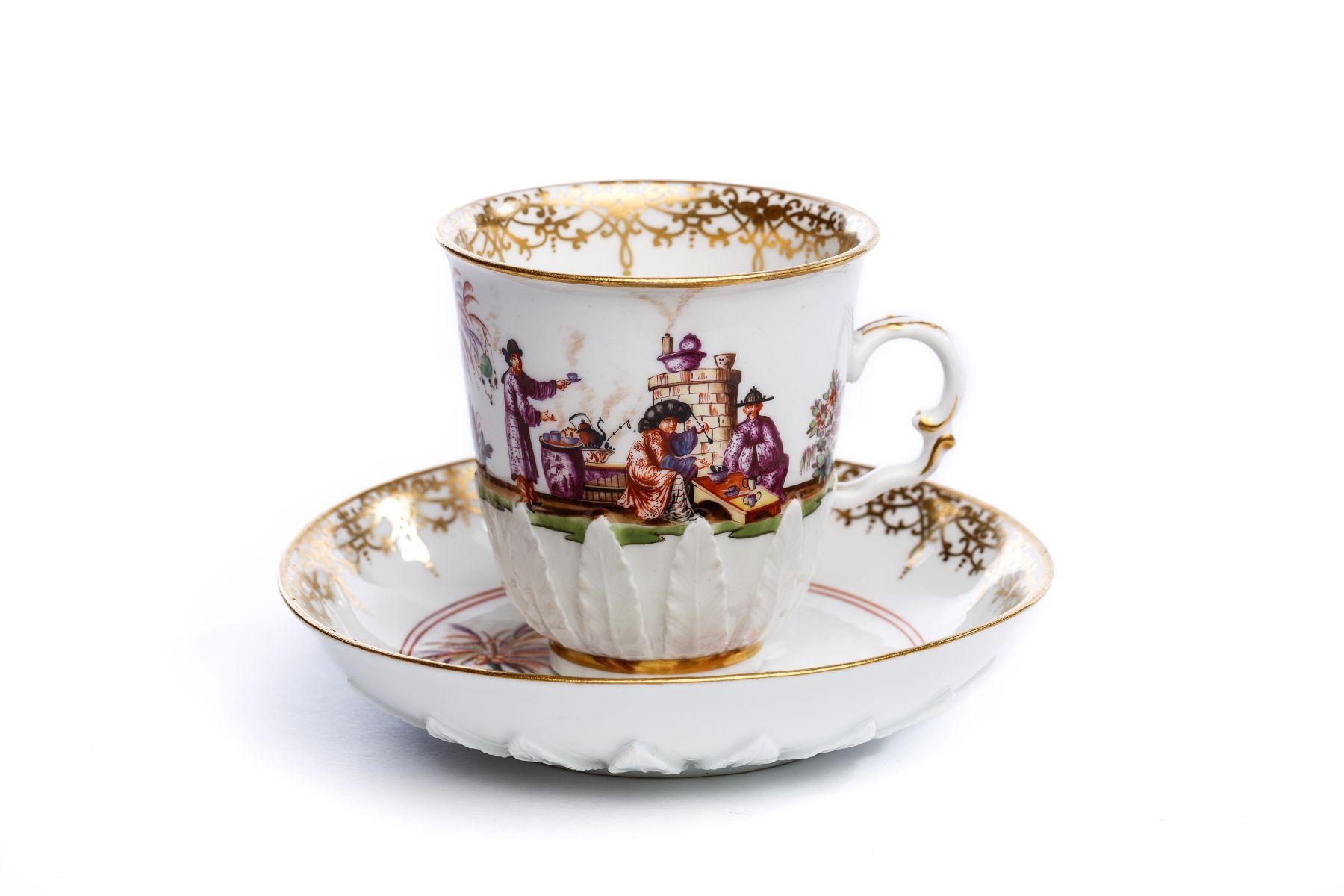 #11 Handled beaker with saucer, Meissen 1730/35 | Henkelbecher mit Unterschale, Meissen 1730/35 Image