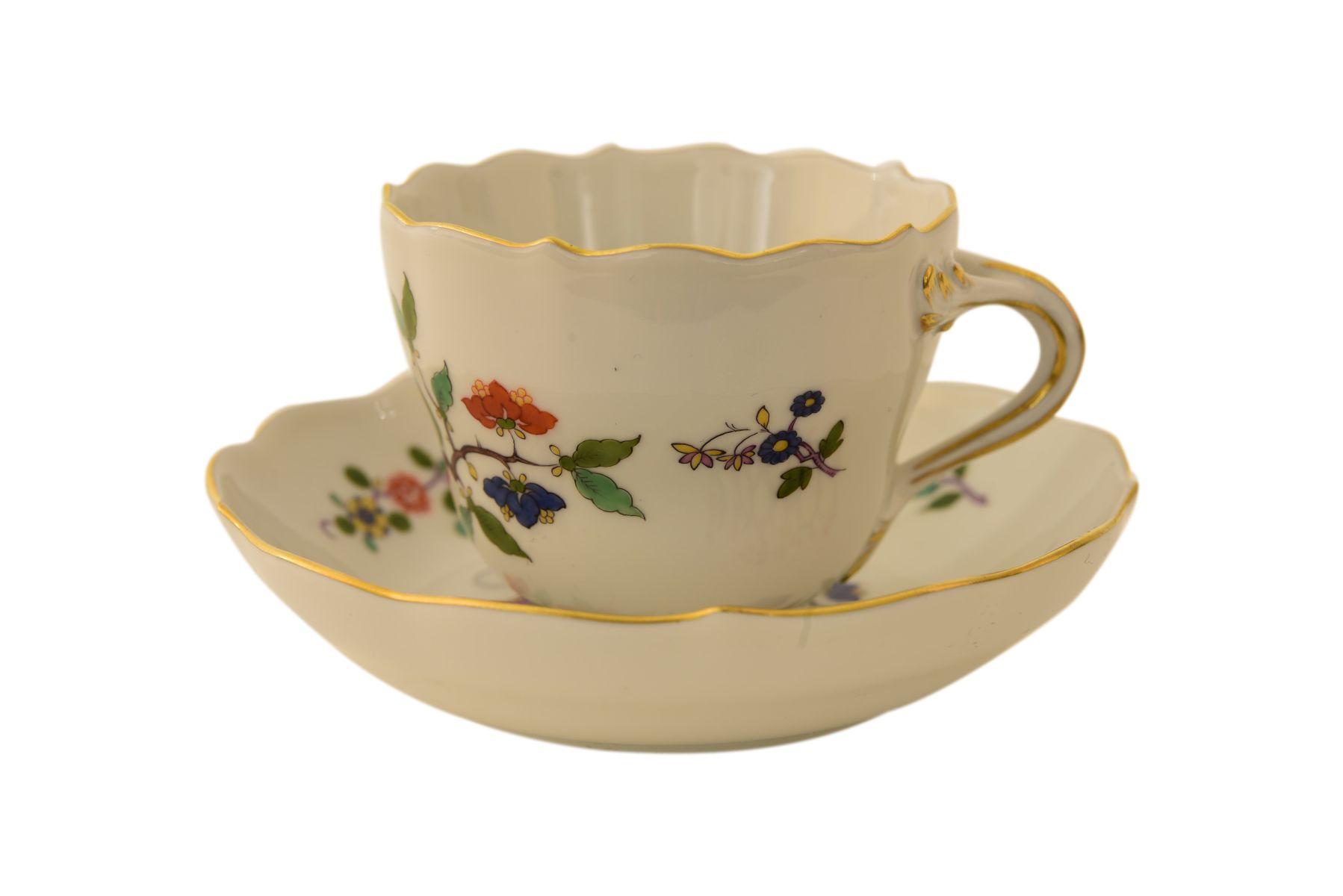 #114 Tea cup with lower bowl Meissen | Teetasse mit Unterschale Meissen Image