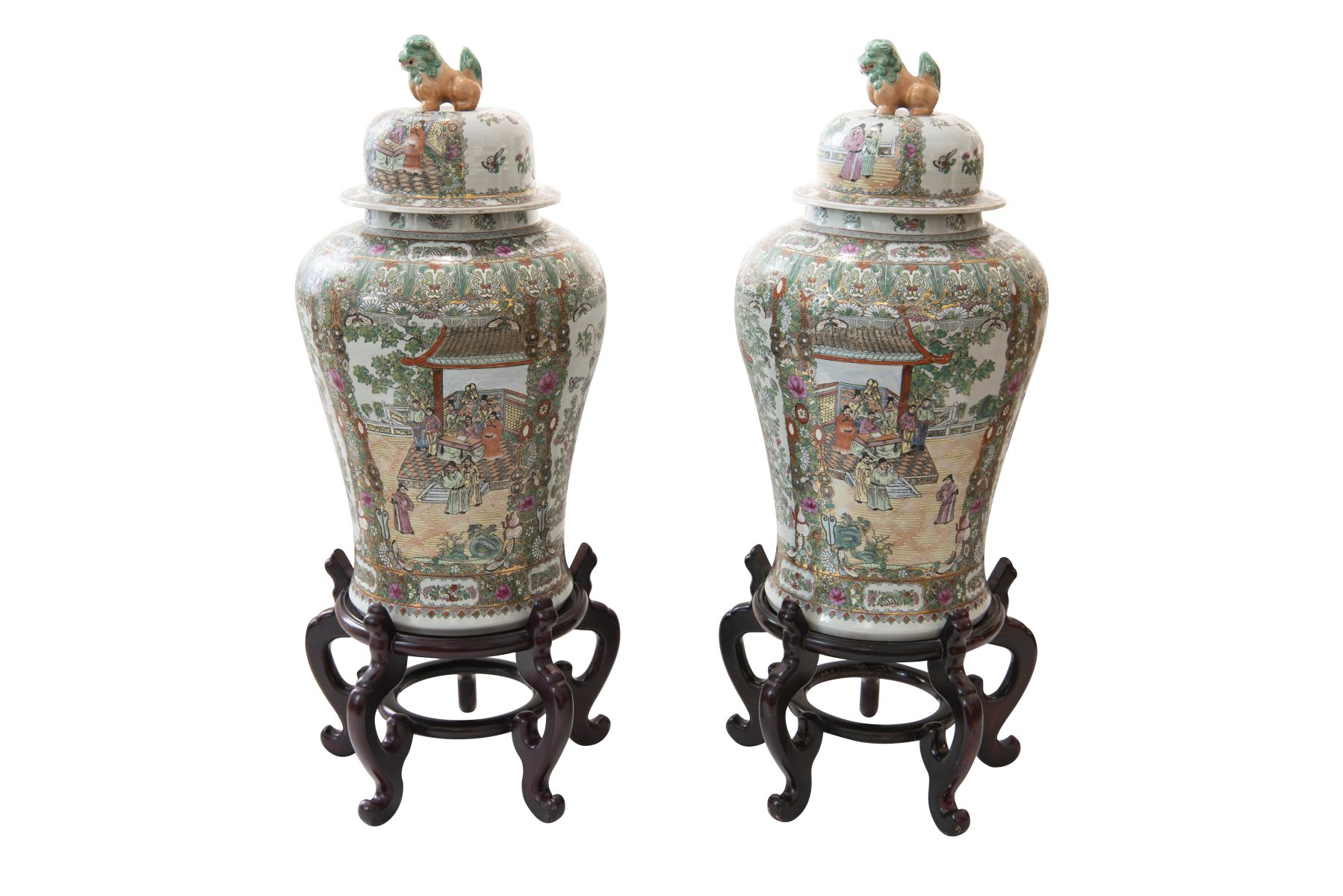#195 Pair of Chinese lidded vases | Paar Chinessiche Deckelvasen Image