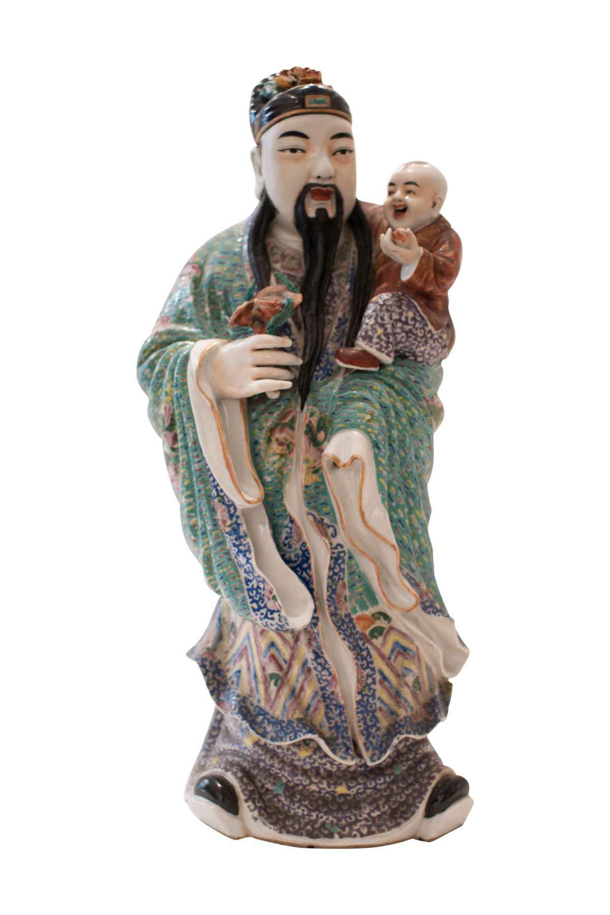 #199 Asian priest with child | Asiatischer Priester mit Kind Image