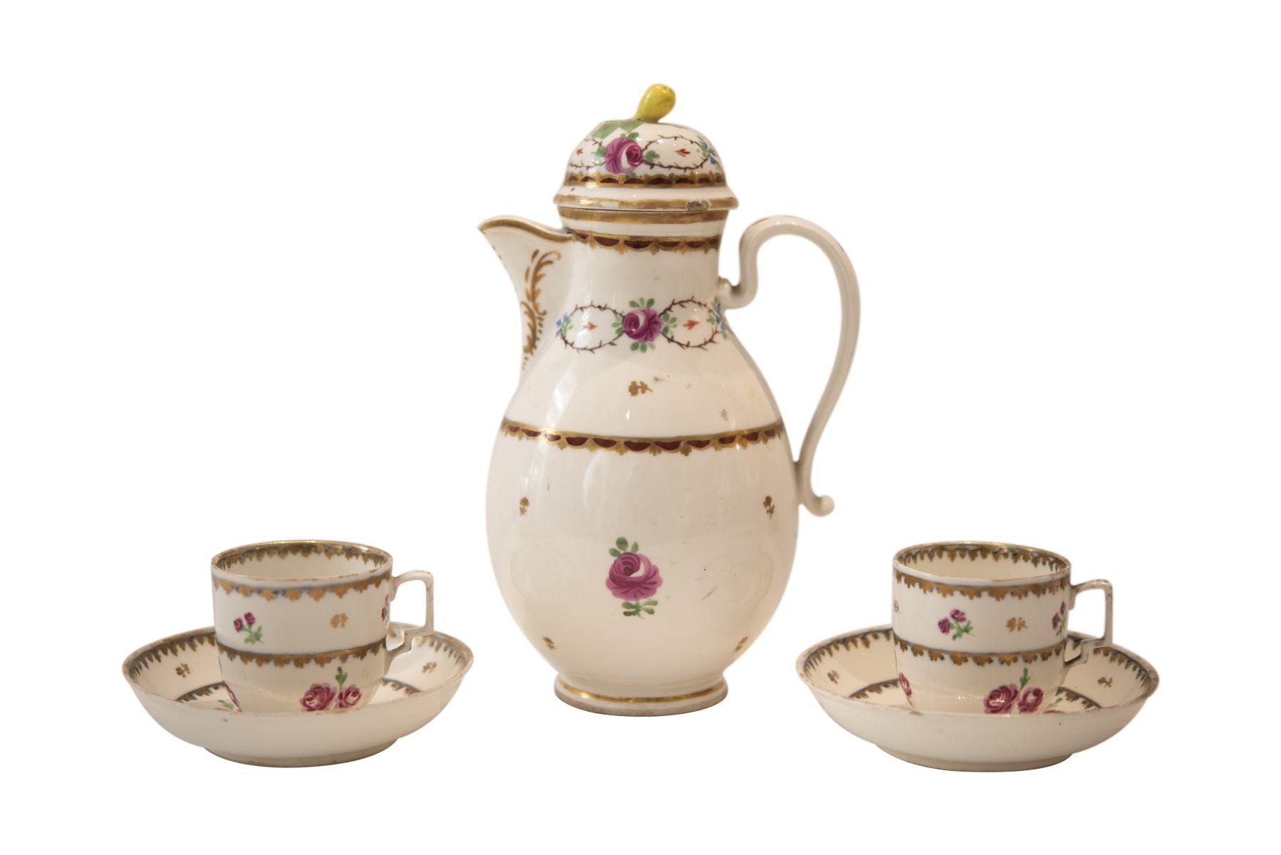 """#216 Old Viennese porcelain """" Large coffee pot and 2 cups"""".   Alt Wiener Porzellan """" Große Kaffeekanne und 2 Tassen"""" Image"""
