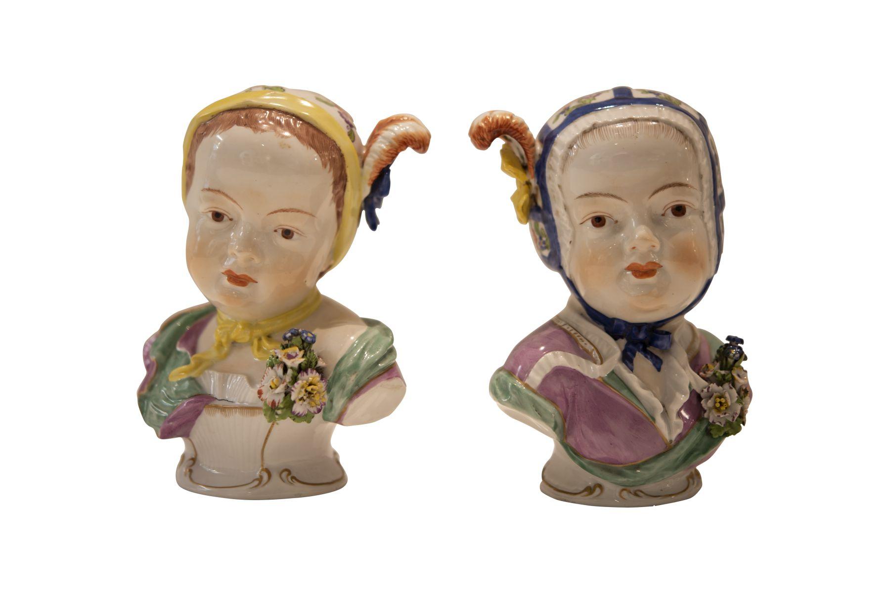 "#244 Two porcelain figures ""Children heads"" Viennese Porcelain Manufacture | Zwei Porzellan Figuren ""Kinderköpfe"" Wiener Porzellan Manufactur Image"