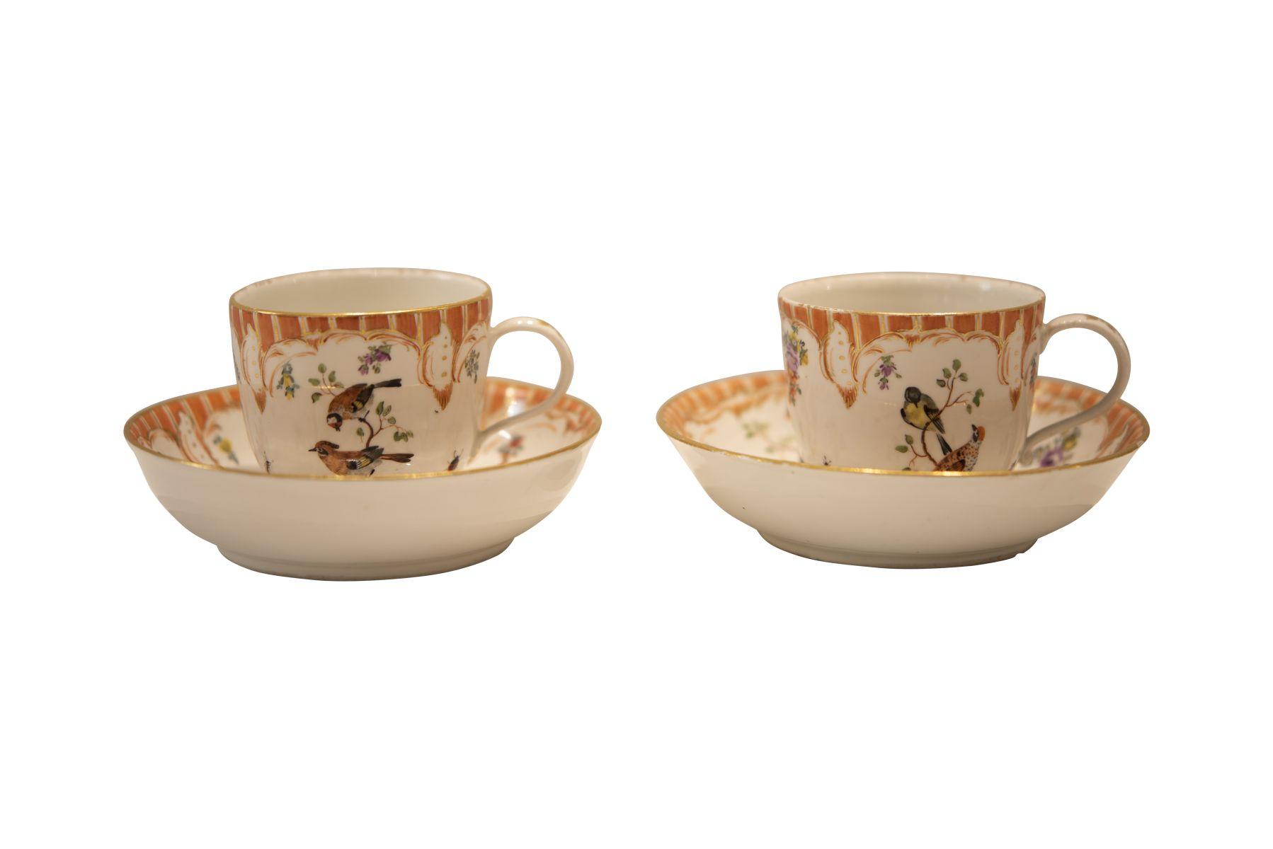 #252 2 ornamental cups Fürstenberg 1760-1770   2 Ziertassen Fürstenberg 1760-1770 Image