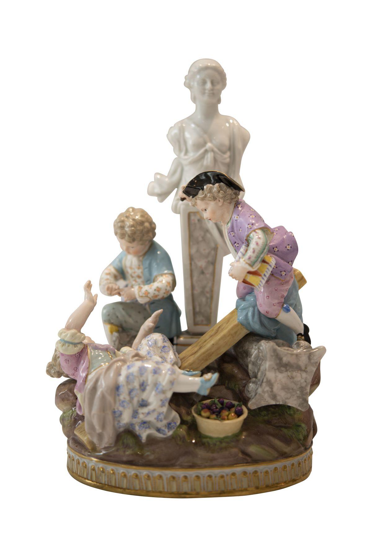 "#265 Group of figures ""Playing children"" Meissen | Figurengruppe ""Spielende Kinder"" Meissen Image"