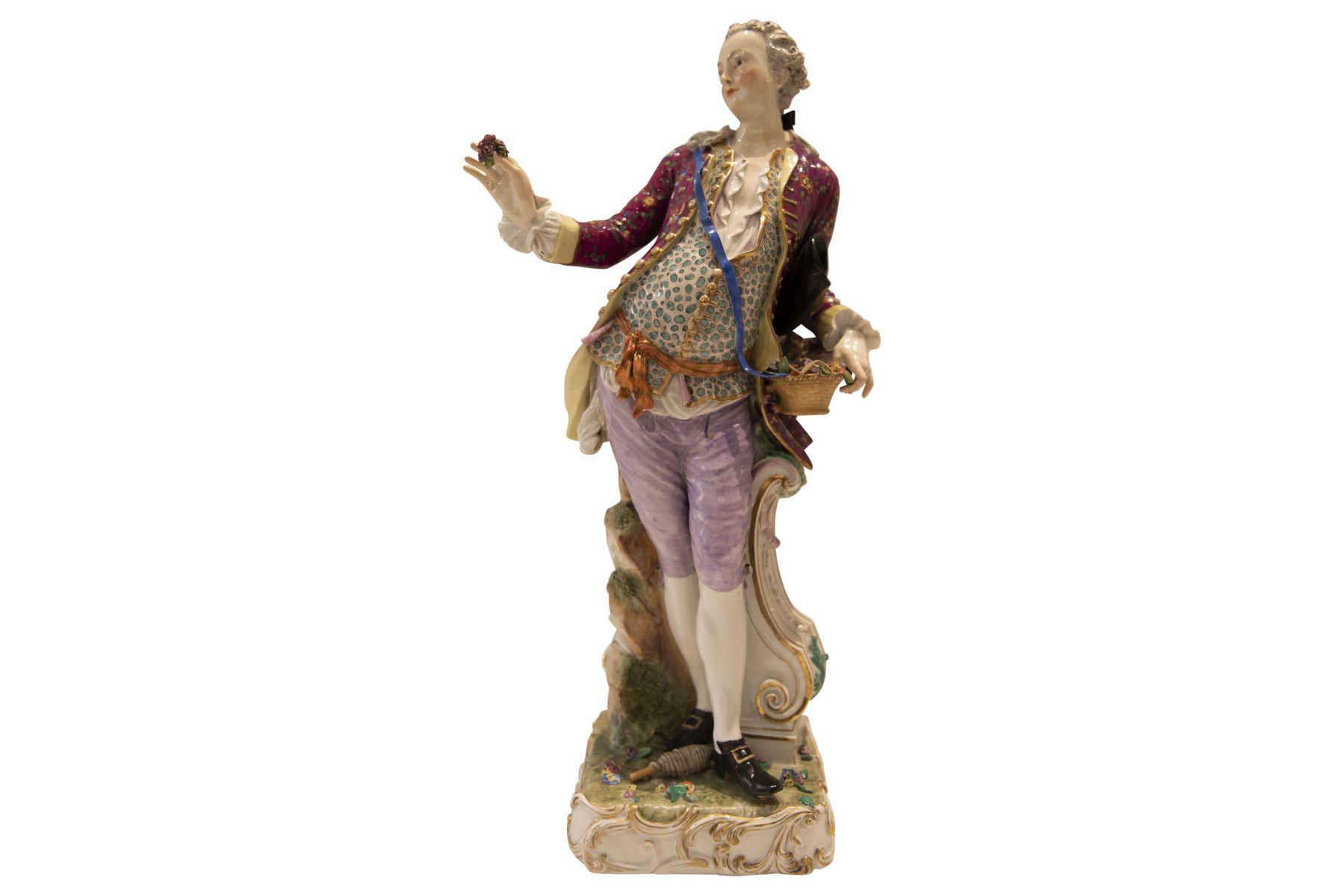 "#267 Large figure ""Cavalier with flowers"", Meissen   Große Figur ""Kavalier mit Blumen"", Meissen Image"
