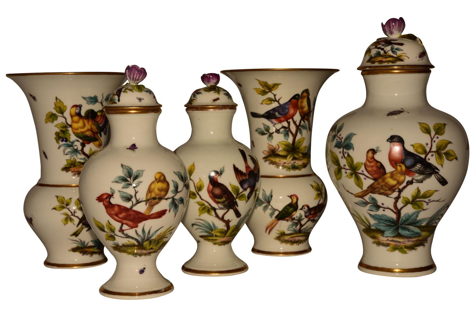 #52 5 rare Augustus Rex vases Dresden 19th century | 5 seltene Augustus Rex Vasen Meissen 19. Jahrhundert Image