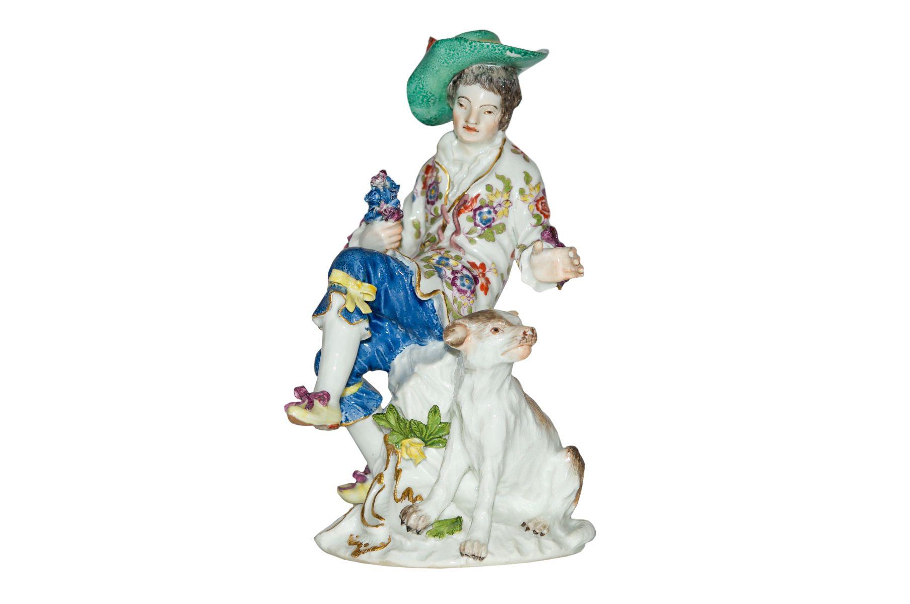 #69 Cavalier with dog Meissen 1750 | Figur Kavalier mit Hund Meissen 1750 Image