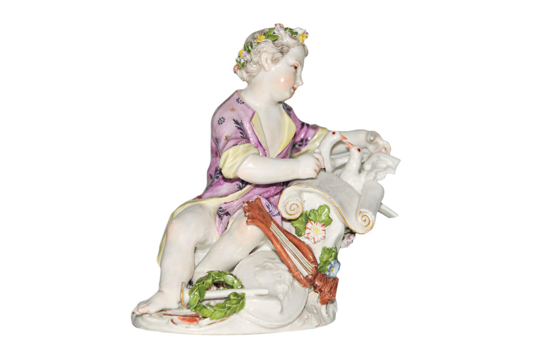 #70 Boy with pigeons Meissen 1750 | Figur Knabe mit Tauben Meissen 1750 Image