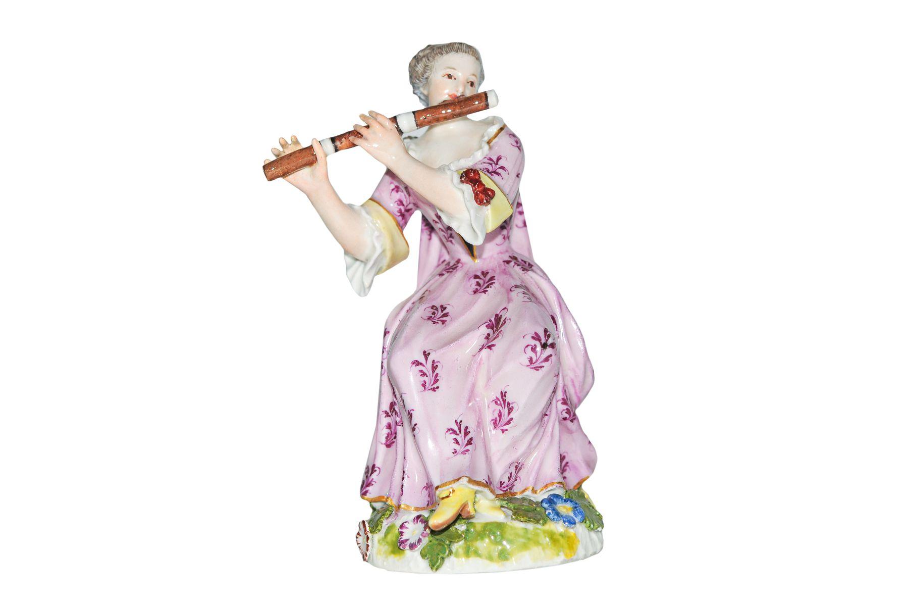 "#73 Flute player Meissen 1750 | Figur ""Flötenspielerin"" Meissen 1750 Image"