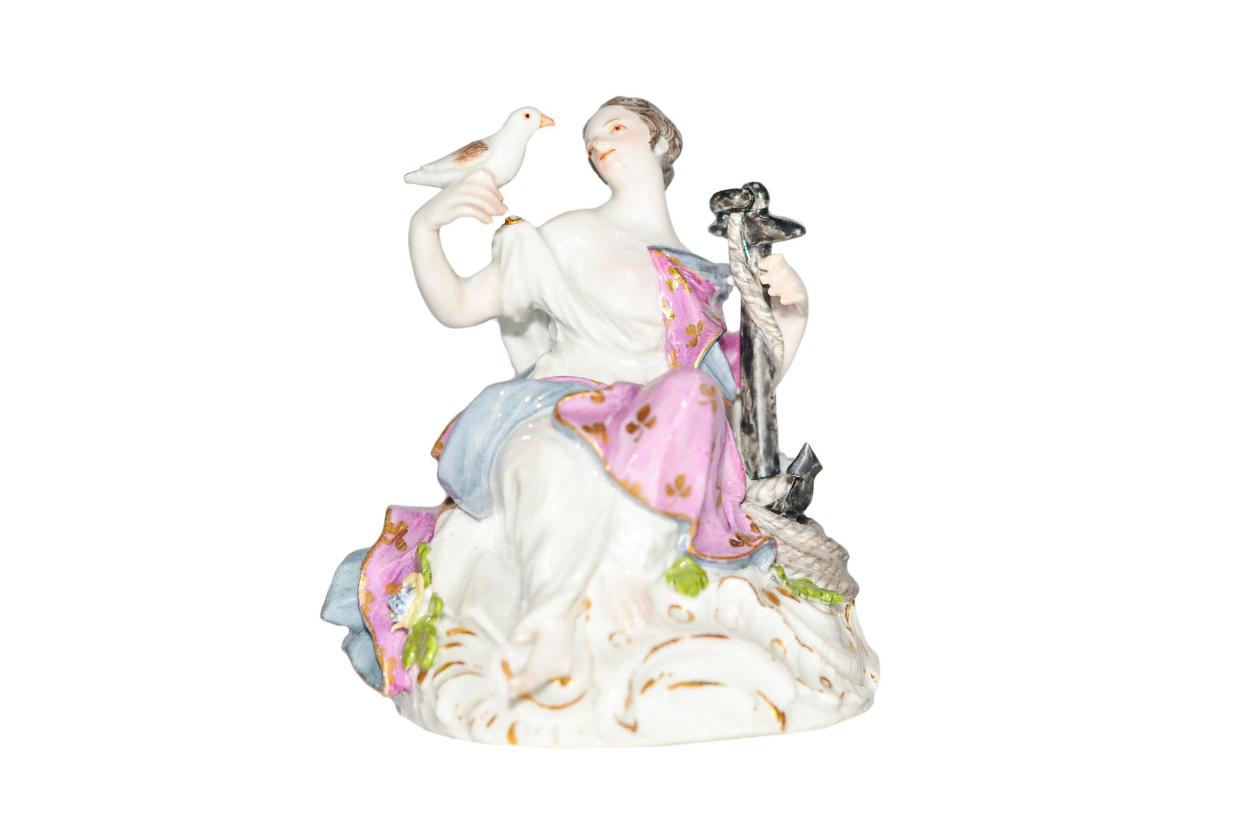 """#83 Figure lady with anchor + dove   Figur """"Dame mit Anker + Taube"""" Meissen Image"""