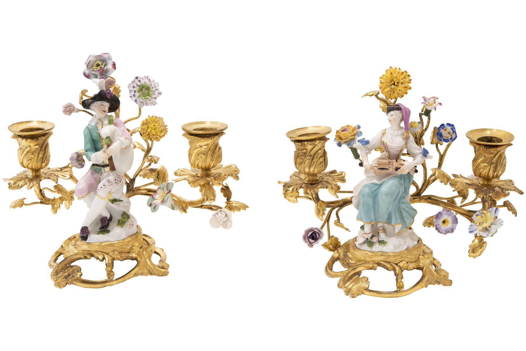 #98 Pair of Figural Girandols, Meissen ca. 1750 | Paar figurale Girandolen, Meissen um 1750 Image