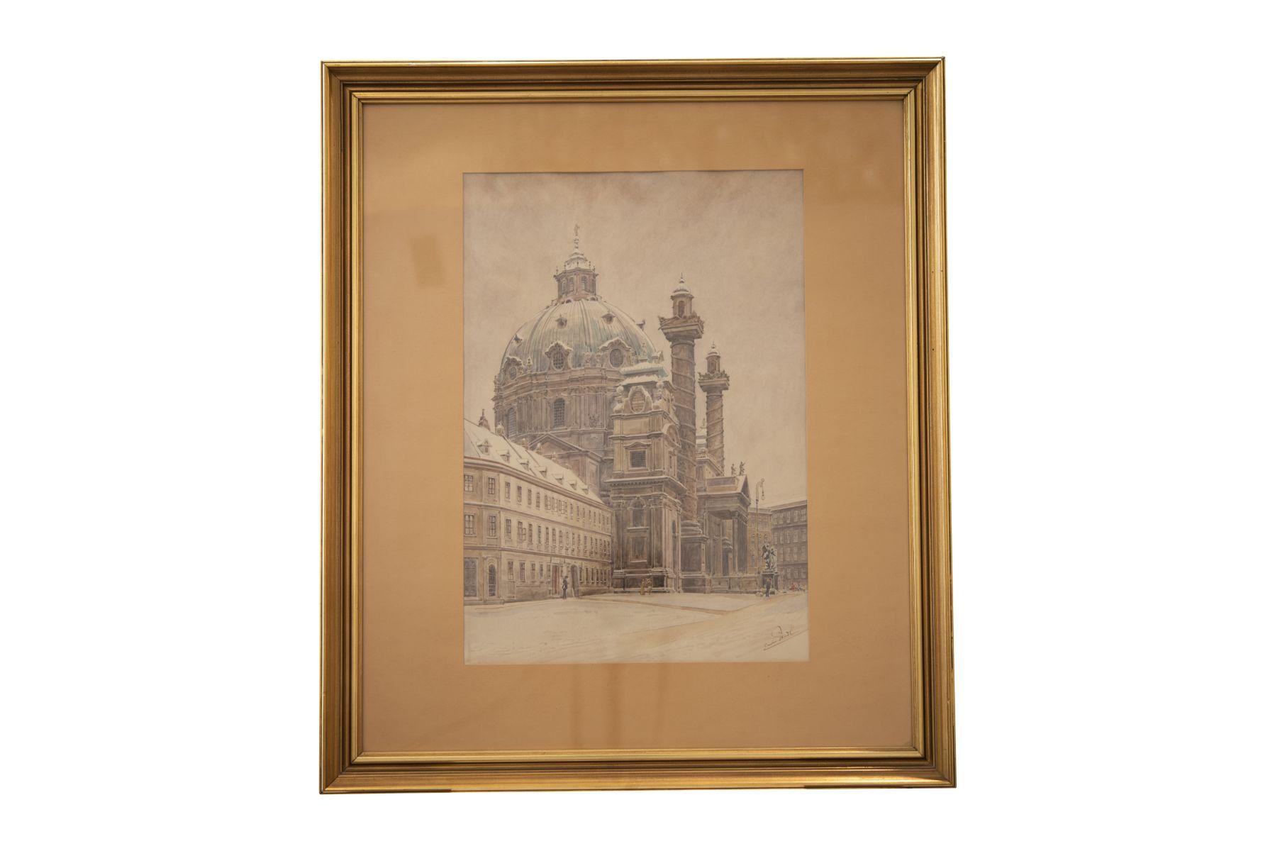 #129 Erwin Pendl (1875–1945), Karlskirche (Church of St. Charles), Vienna | Erwin Pendl (1875–1945), Karlskirche, Wien, Anfang 20. Jh. Image