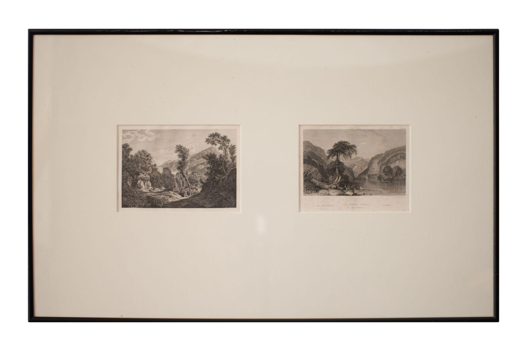 #144 2 Small Prints, Valley of the Temples in Greece   2 kleine Druckgrafiken, Tal der Tempel in Griechenland Image