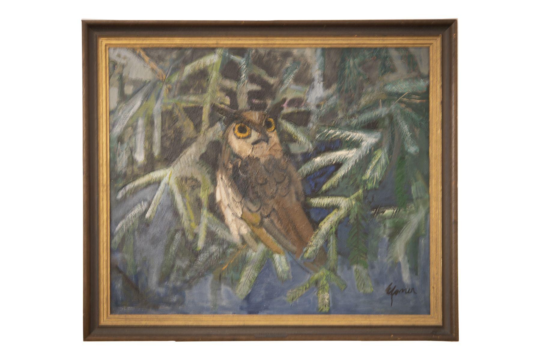 #157 Franz Elsner (1898-1977), Owl in Spruce Branches | Franz Elsner, Eule im Fichtengeäst Image