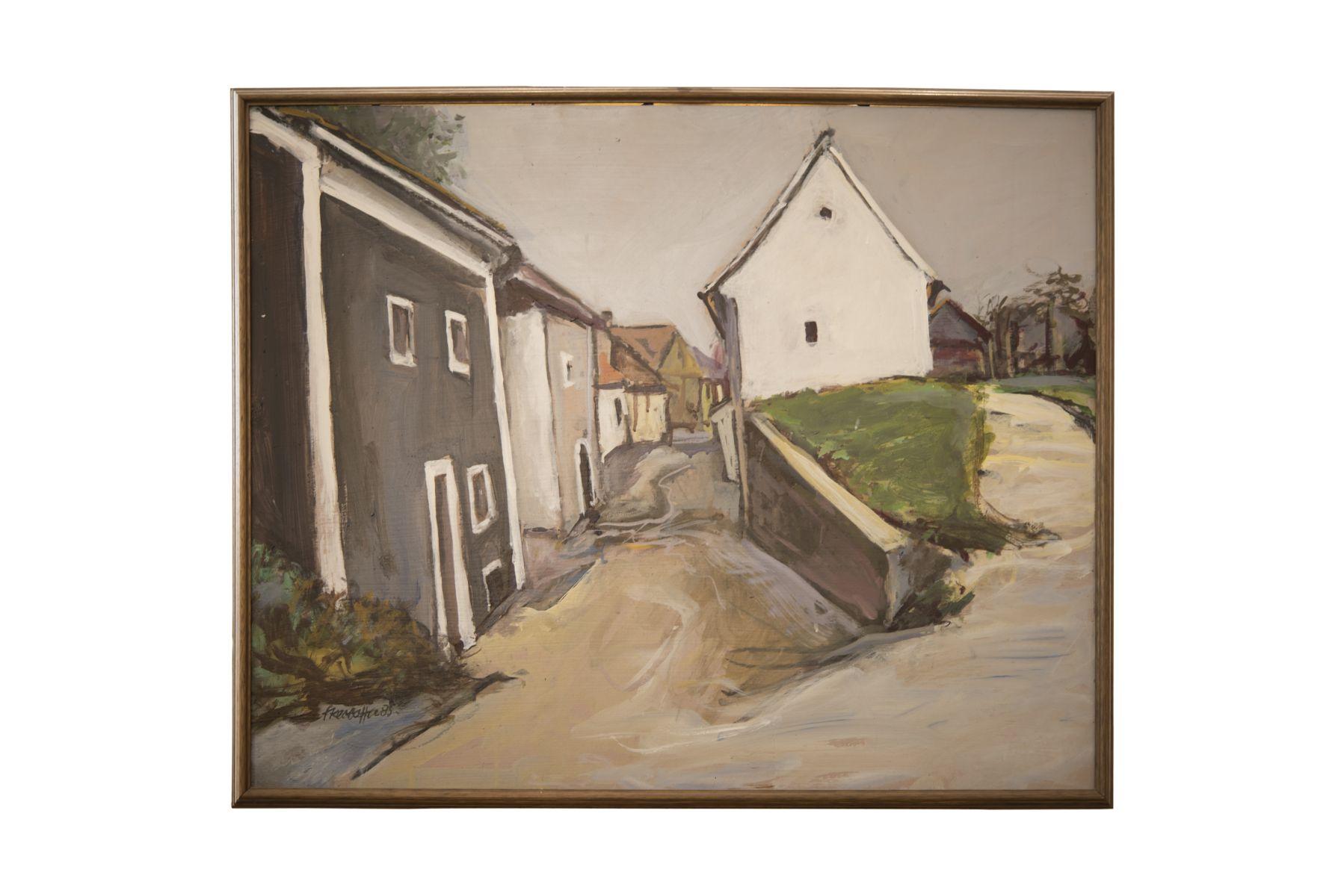 #158 20th C. Artist, Small Alley in a Village | Künstler des 20. Jh.s, Kleine Gasse in einem Dorf Image