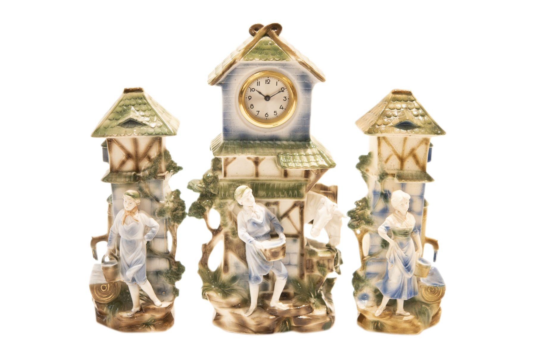 #165 3-Piece Summer Allegory with a Clockwork by Winter & Fils | 3-teilige Sommer-Allegorie mit einem Uhrwerk von Winter & Fils Image