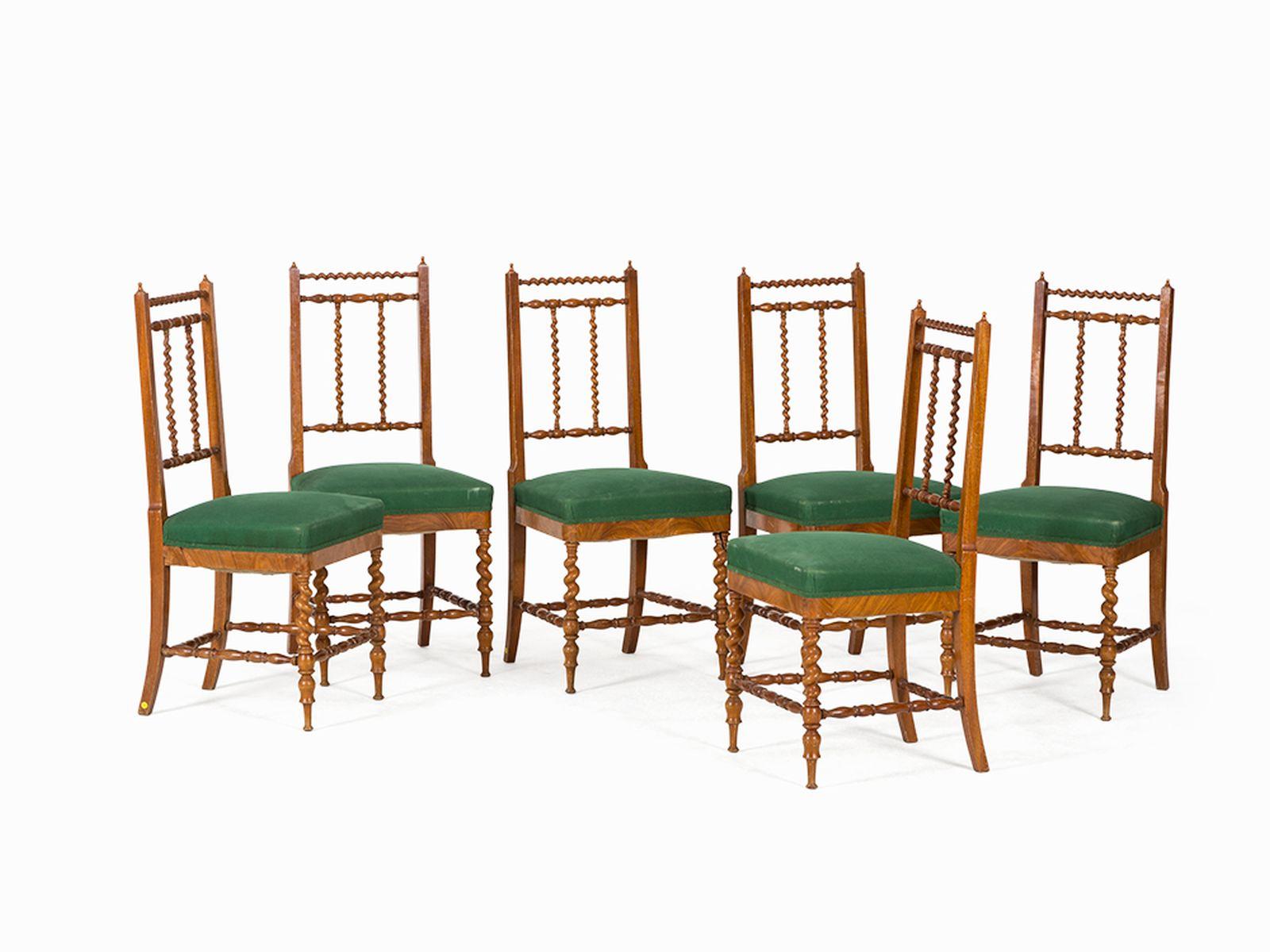 #20 Set of 6 Chairs, Italy, Mid-19th C.   Satz von 6 Stühlen, Italien, Mitte 19. Jh. Image