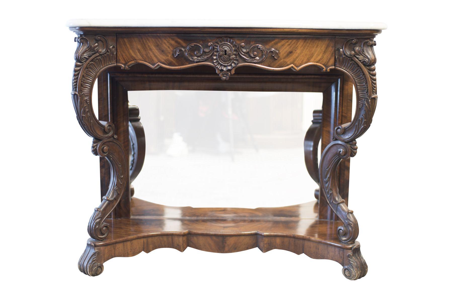 #38 Baroque Sideboard with Mirror and Marble Top | Barock Buffet mit Spiegel und Marmorplatte Image