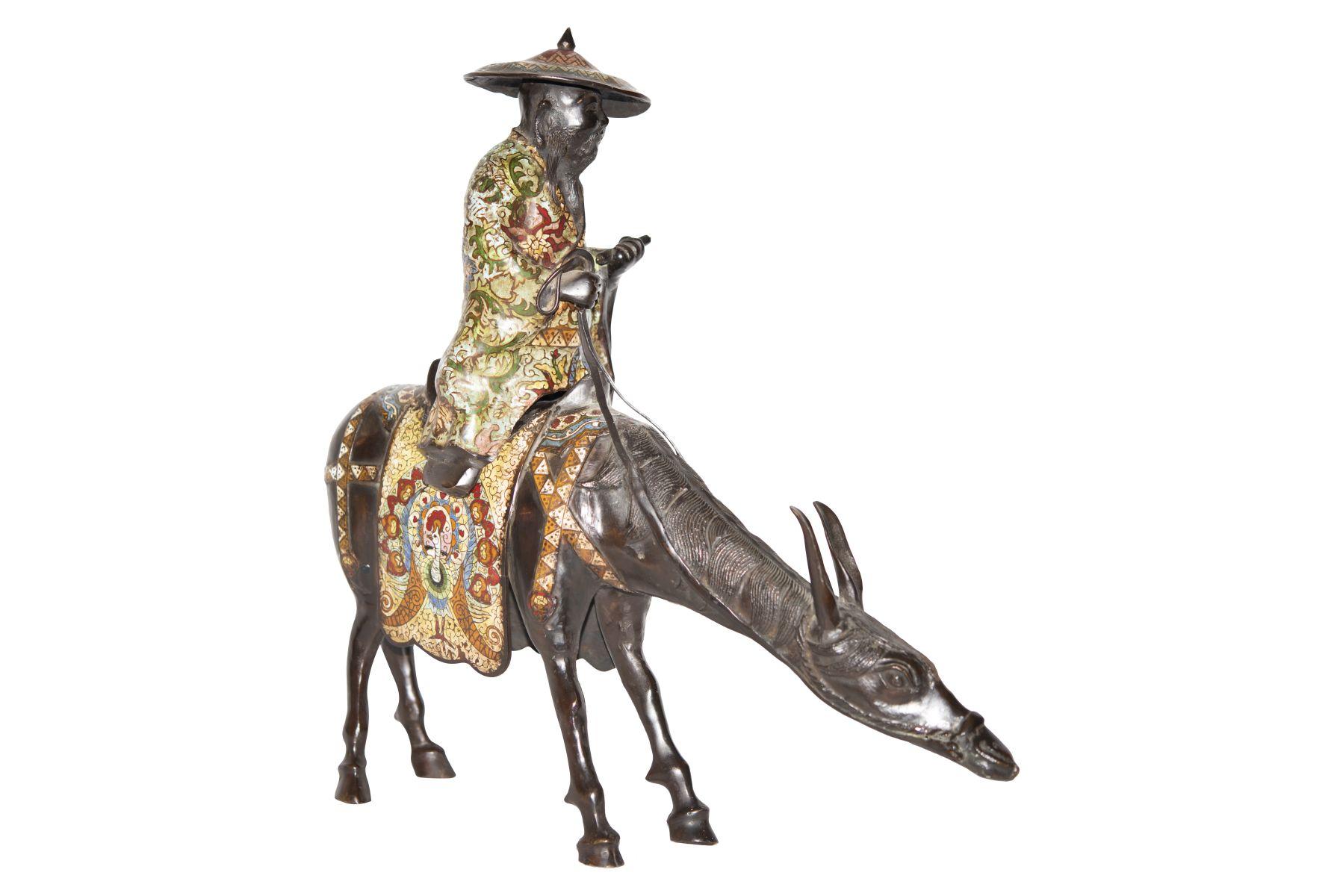 #94 Bronze Figure of a Scholar Riding a Donkey | Bronzefigur eines auf einem Esel reitenden Gelehrten Image
