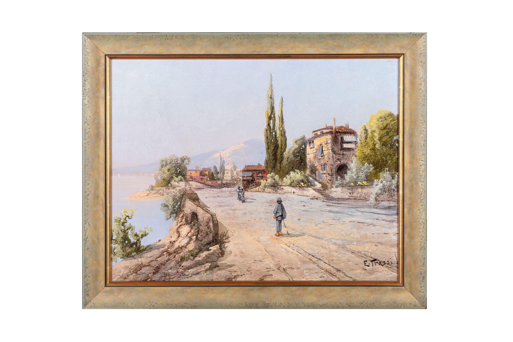 #98 E. Trassi, Italian Coastal Landscape, Around 1900 | E. Trassi, Italienische Küstenlandschaft, um 1900 Image