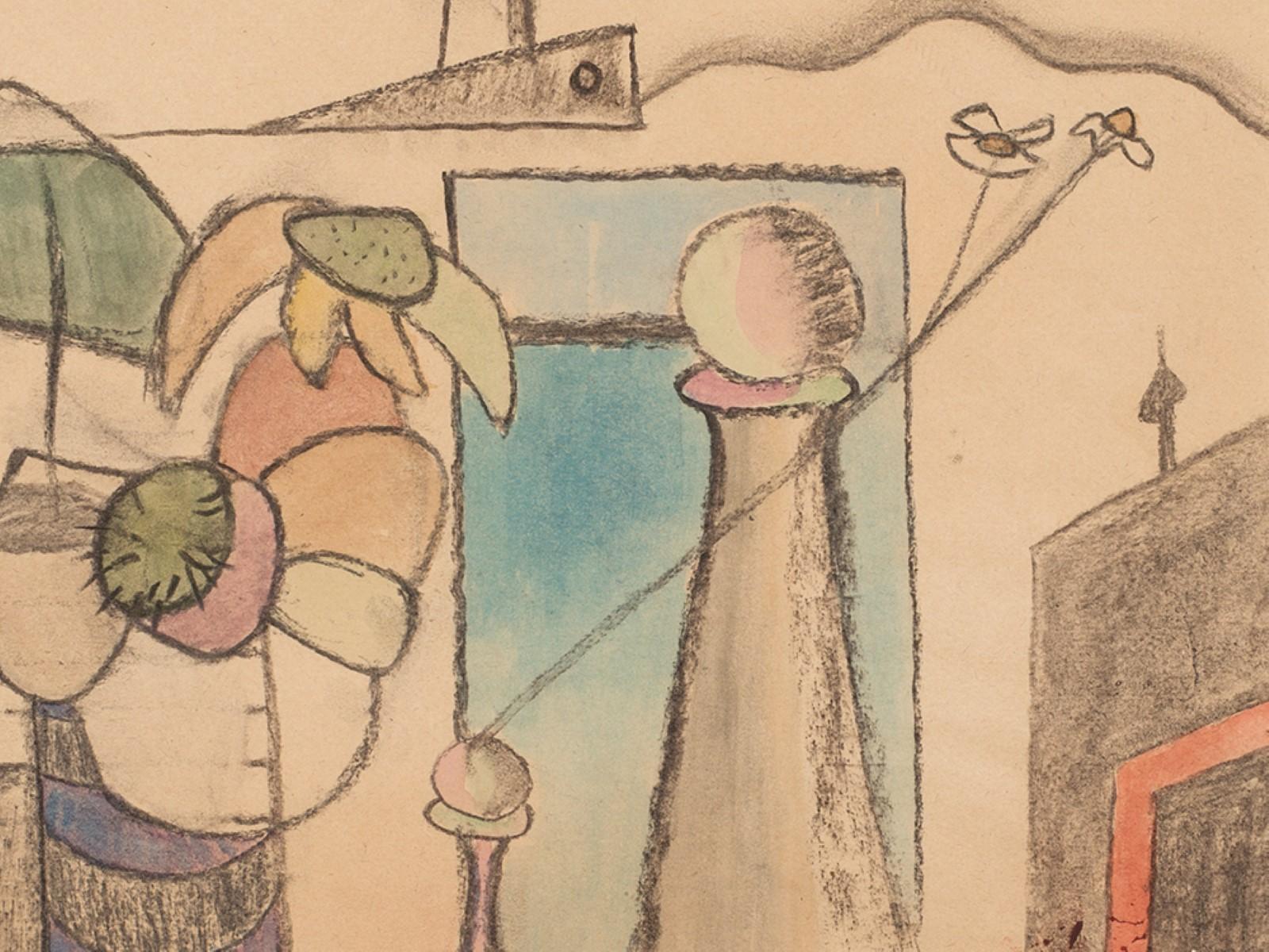 #123 Rudolf Petrik* (1922-1991) Fantasy Landscape, 1950   Rudolf Petrik* (1922-1991), Phantasielandschaft, um 1950 Image