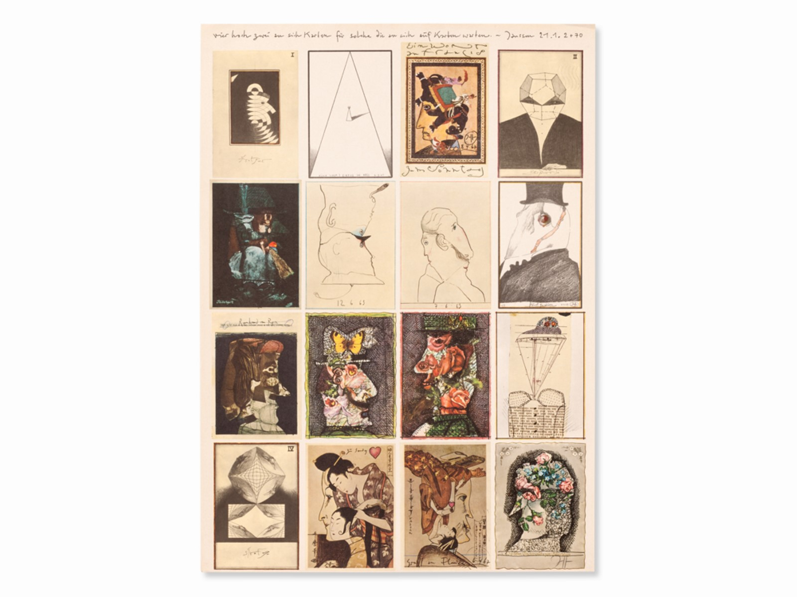 #13 Horst Janssen* (1929-1995), Four to the Power of Two to himself Cards, 1972   Horst Janssen* (1929-1995), Vier hoch zwei zu sich Karten, 1972 Image