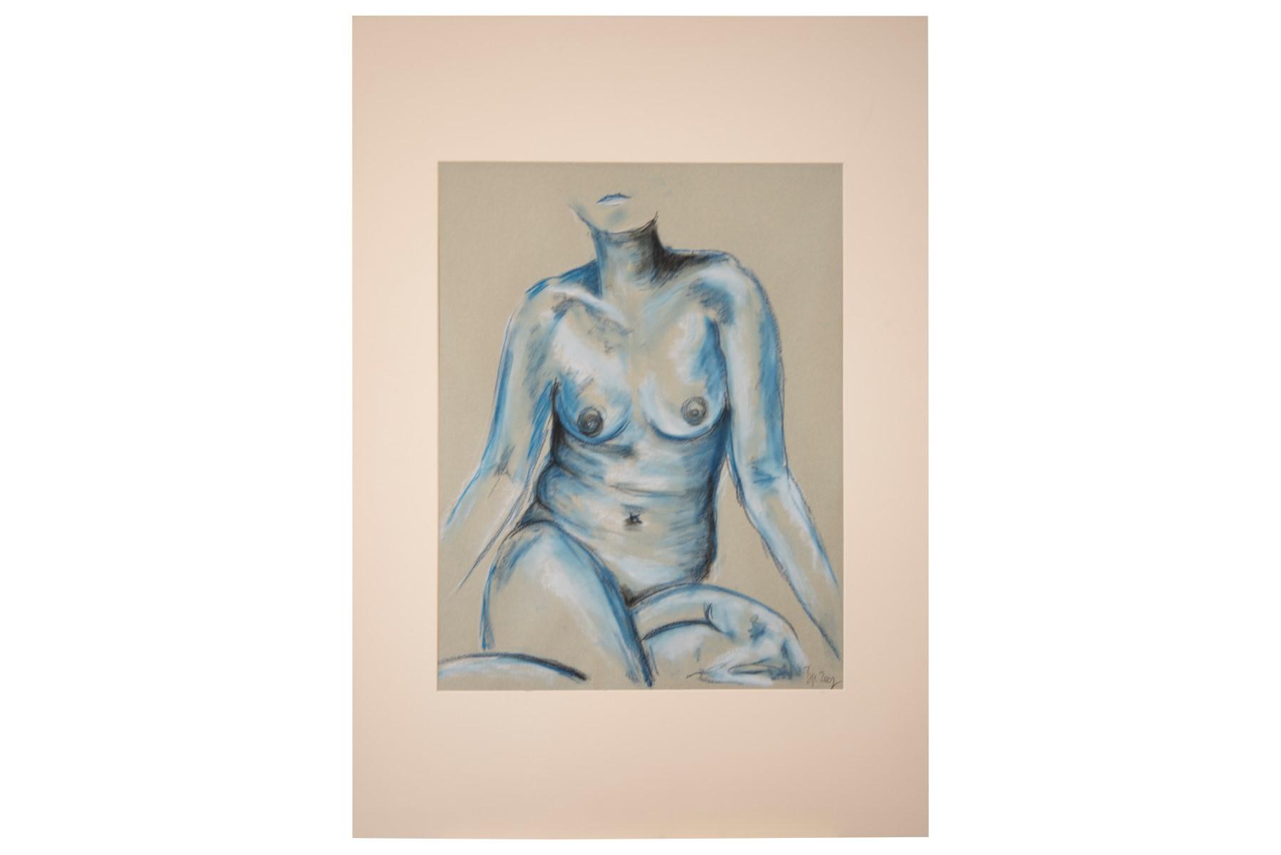 #136 Pauline Buchinger, Nude Sitting Blue | Pauline Buchinger, Aktbild sitzend Blau Image