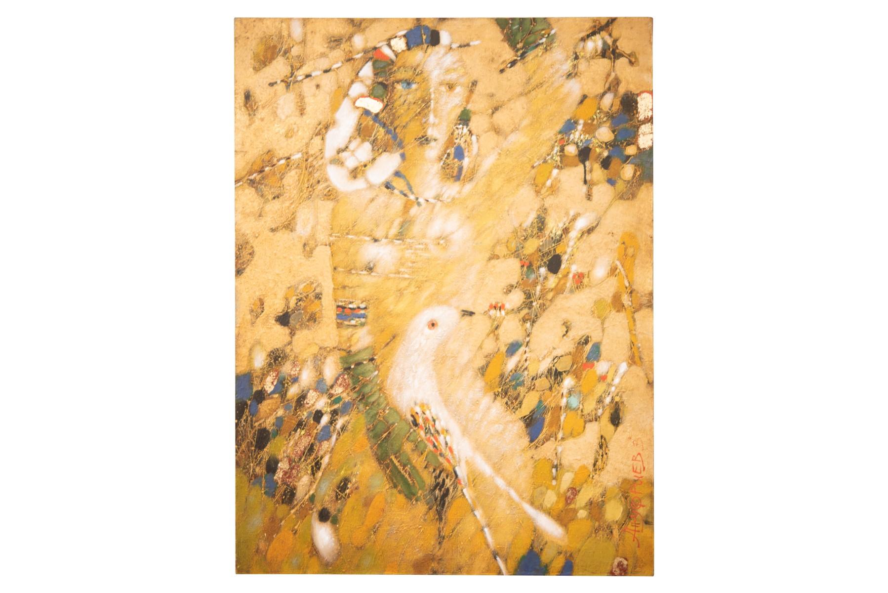 #158 Victor Anufriev (1958), Mädchen mit Vogel | Victor Anufriev (1958), Girl with bird Image