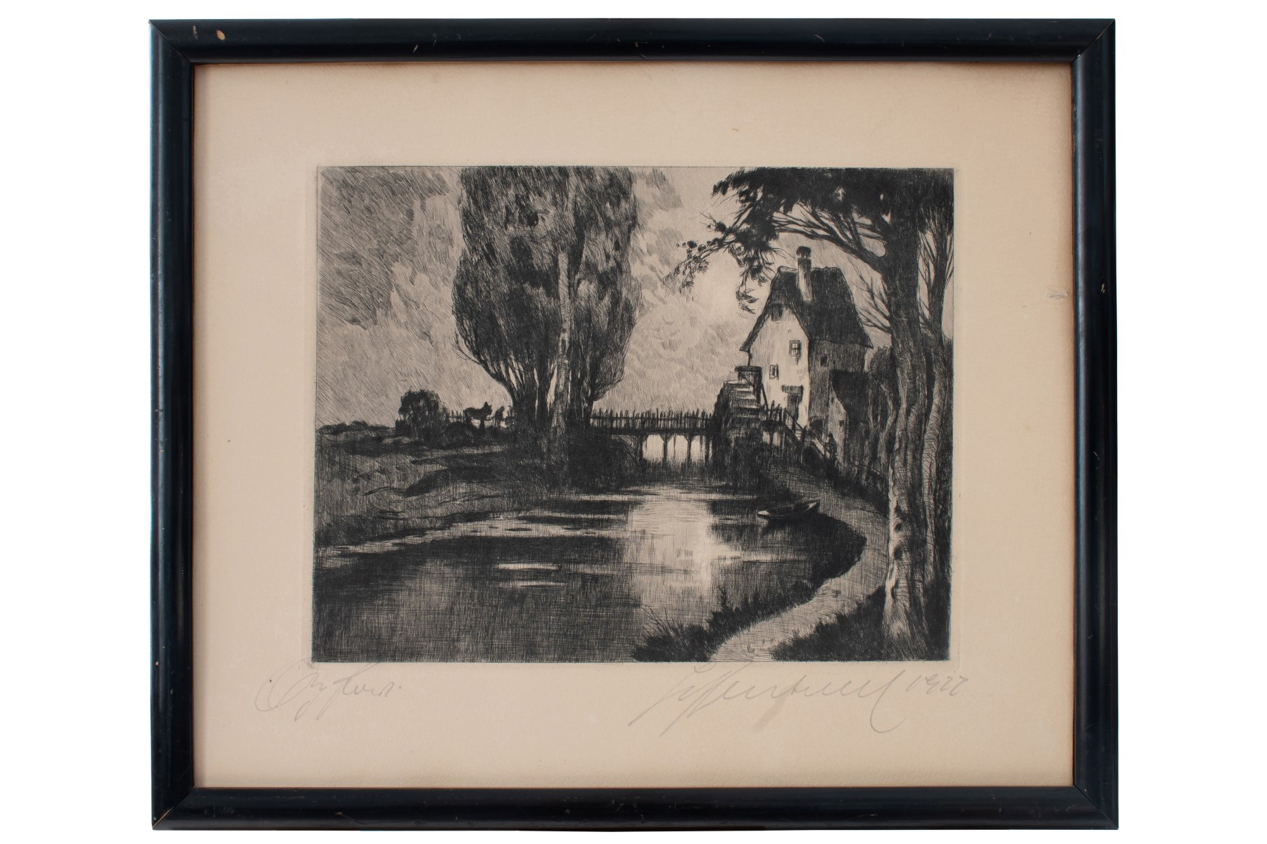 #40 Hugo Henschl (1879-1929) , Mill By The River   Hugo Henschel (1879-1929), Mühle Am Fluss Image